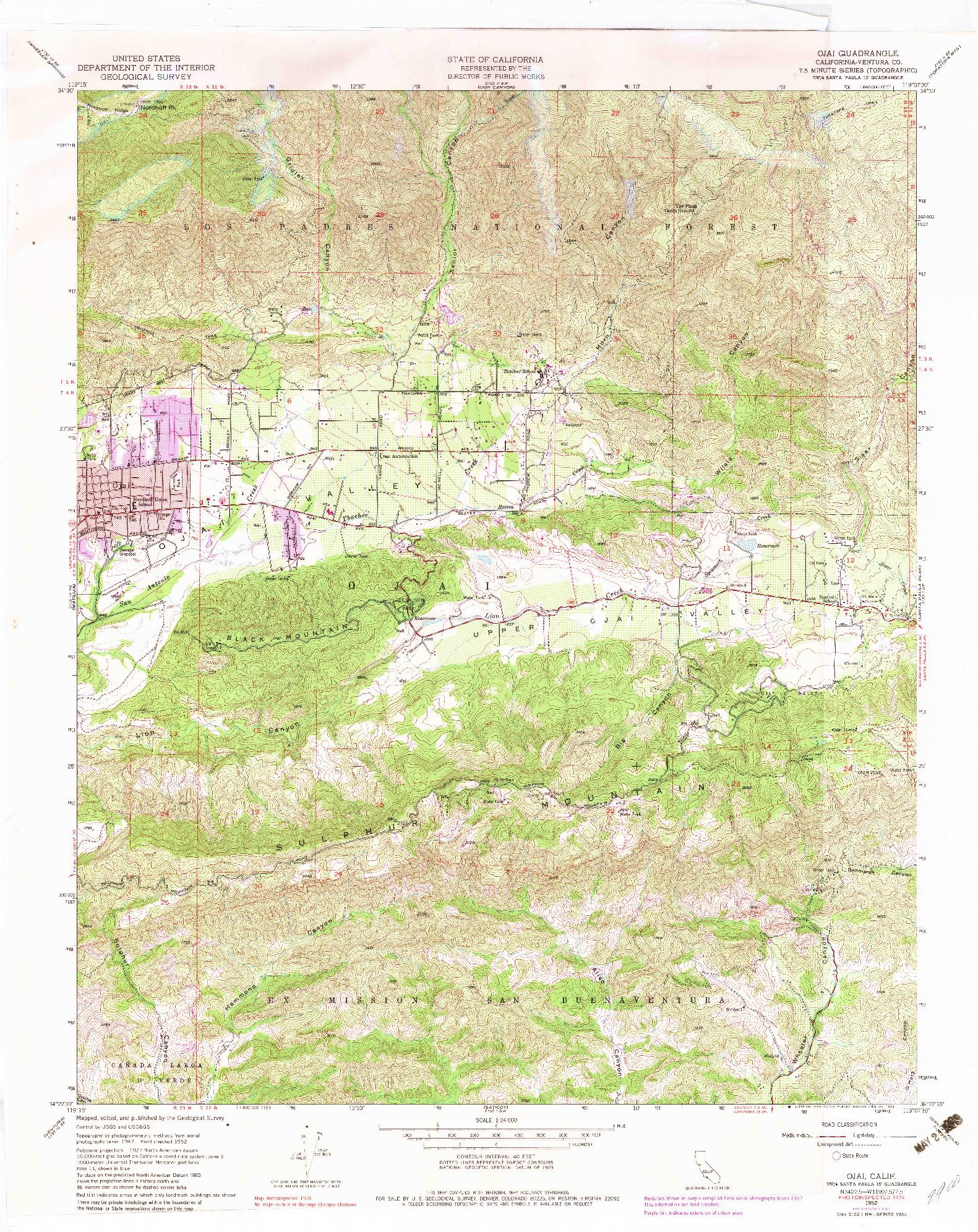 USGS 1:24000-SCALE QUADRANGLE FOR OJAI, CA 1952