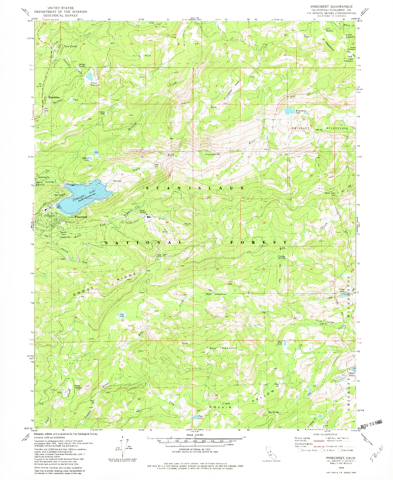 USGS 1:24000-SCALE QUADRANGLE FOR PINECREST, CA 1979