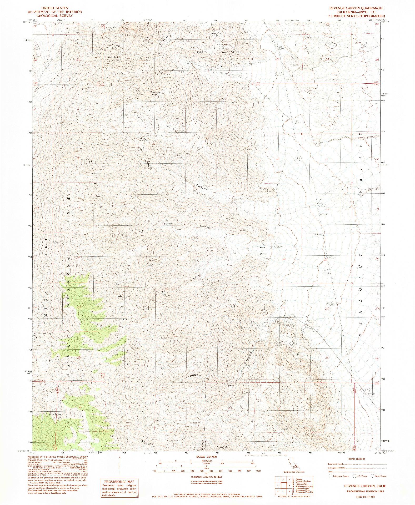 USGS 1:24000-SCALE QUADRANGLE FOR REVENUE CANYON, CA 1982