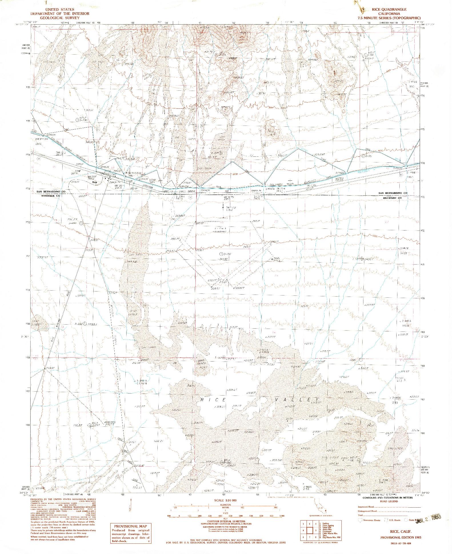 USGS 1:24000-SCALE QUADRANGLE FOR RICE, CA 1983