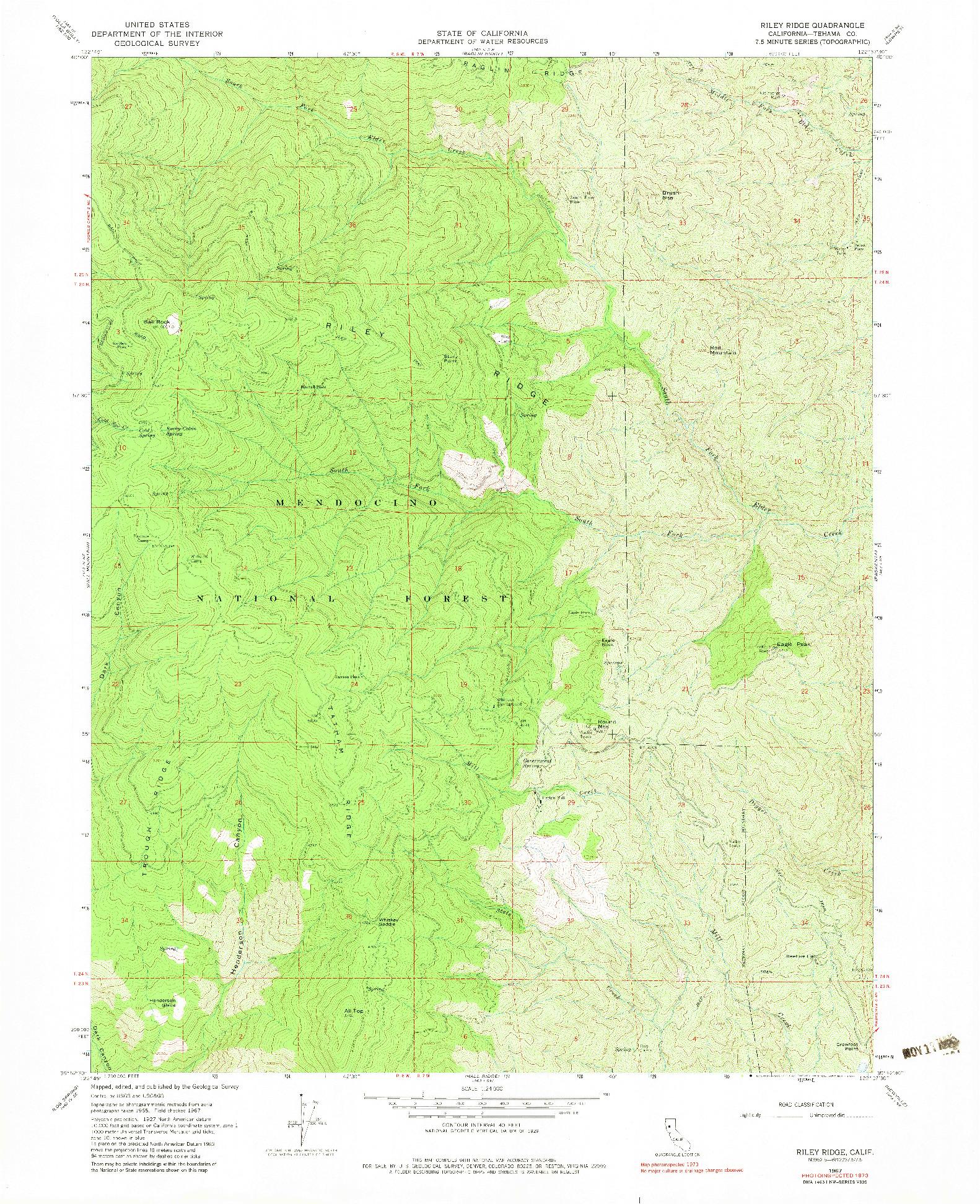 USGS 1:24000-SCALE QUADRANGLE FOR RILEY RIDGE, CA 1967