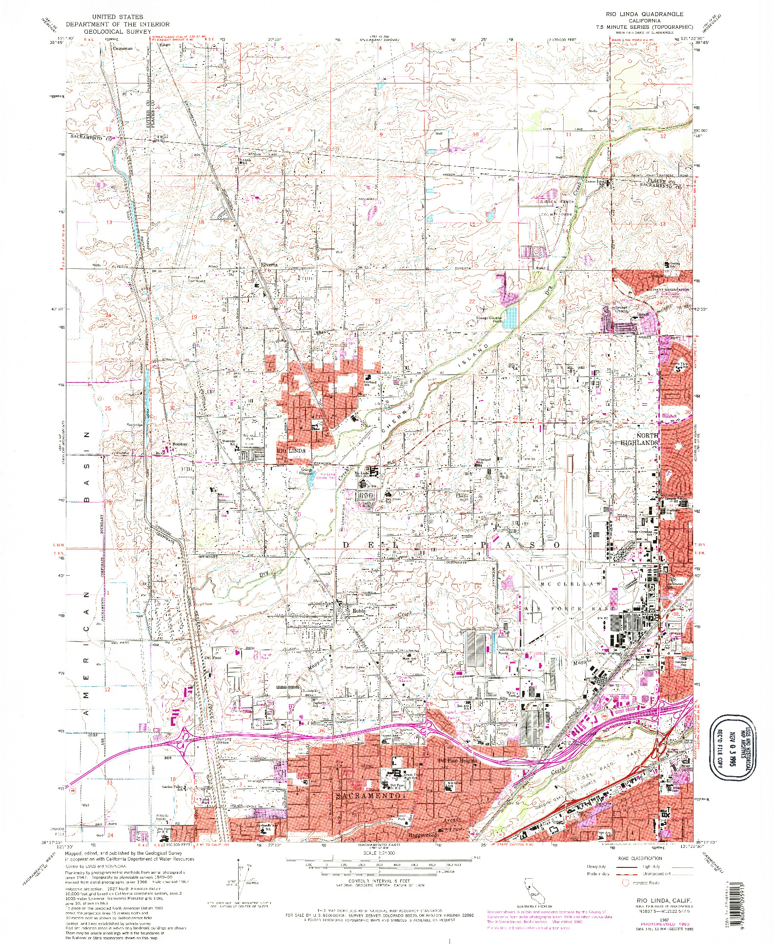USGS 1:24000-SCALE QUADRANGLE FOR RIO LINDA, CA 1967
