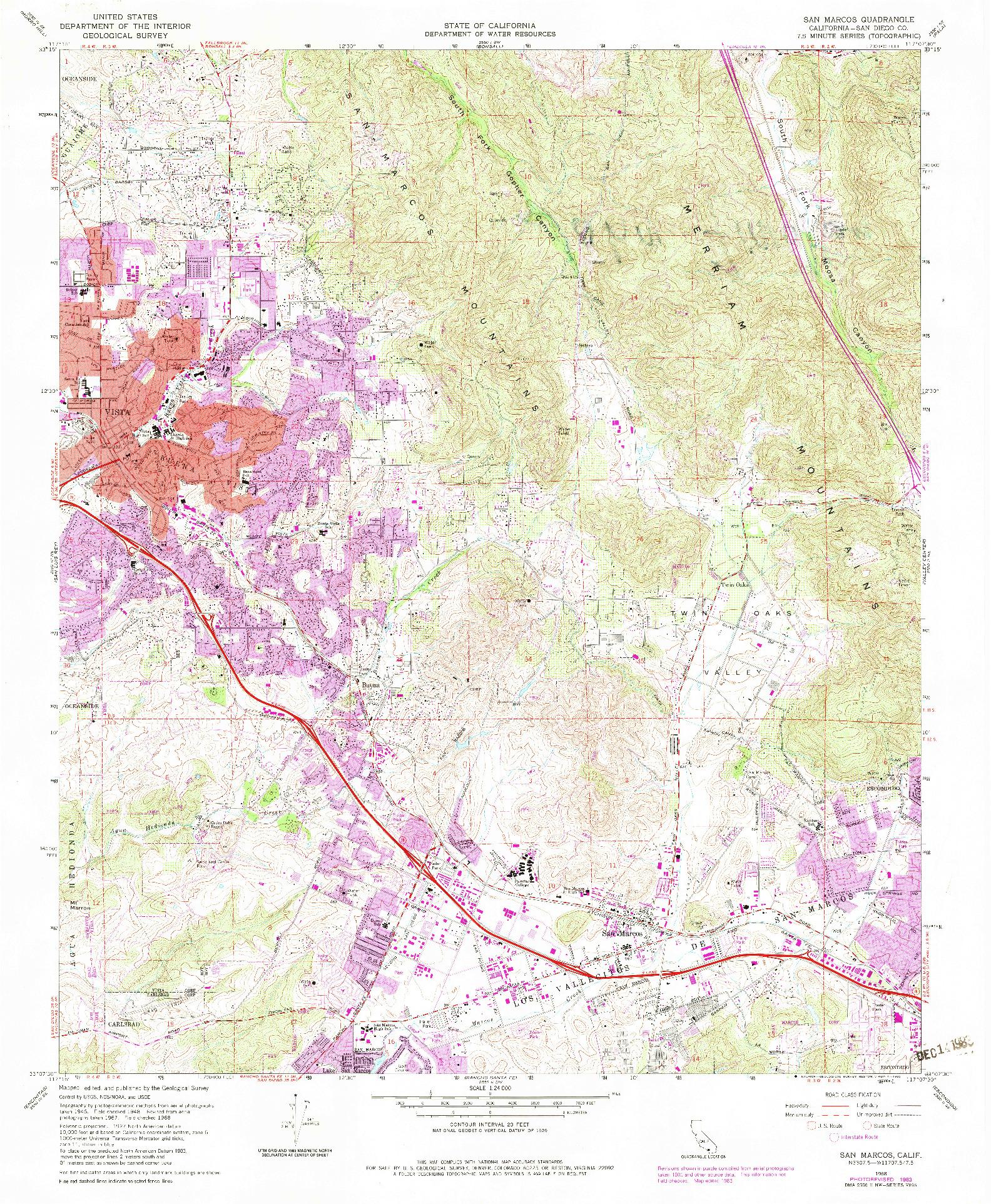 USGS 1:24000-SCALE QUADRANGLE FOR SAN MARCOS, CA 1968