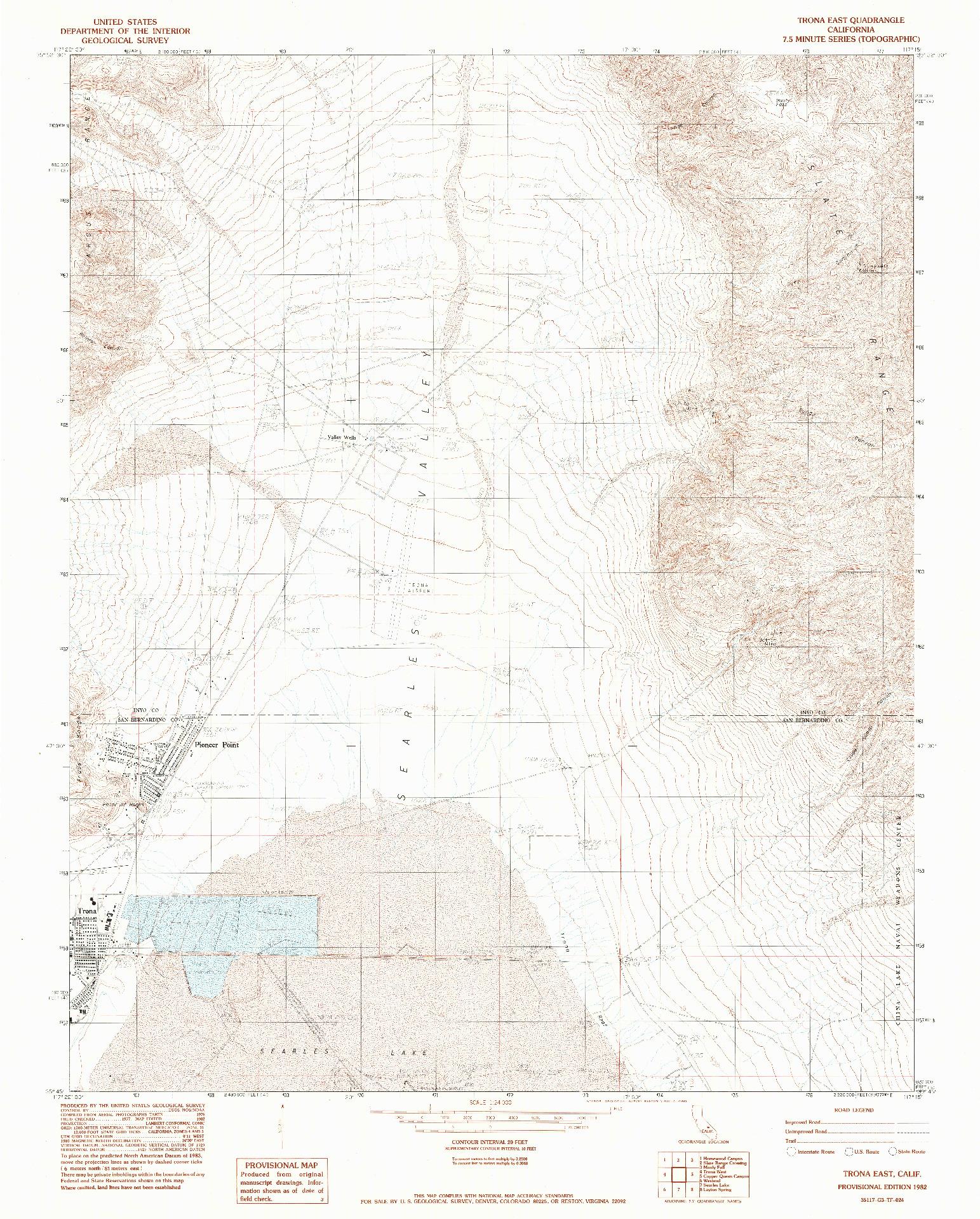 USGS 1:24000-SCALE QUADRANGLE FOR TRONA EAST, CA 1982