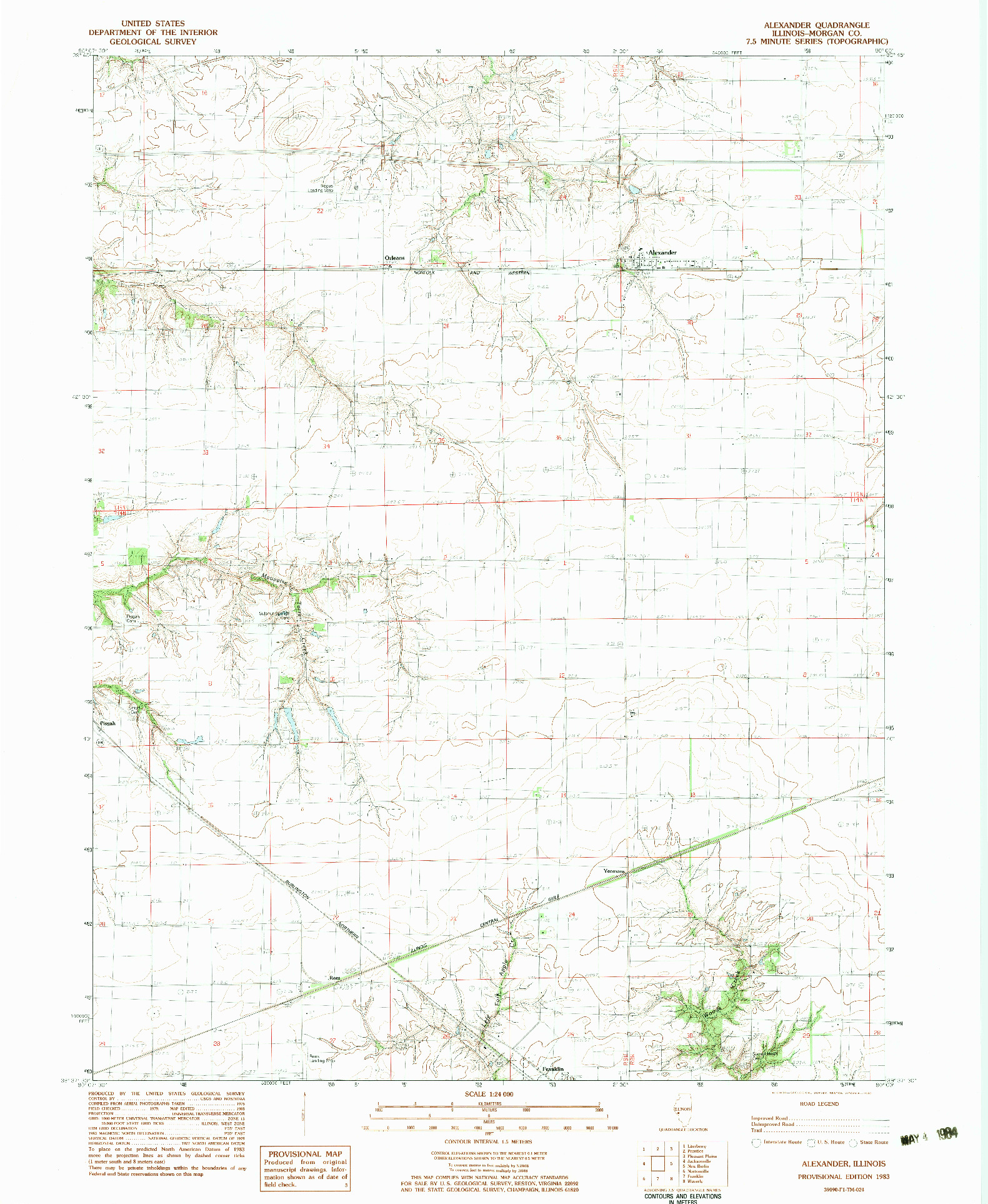 USGS 1:24000-SCALE QUADRANGLE FOR ALEXANDER, IL 1983