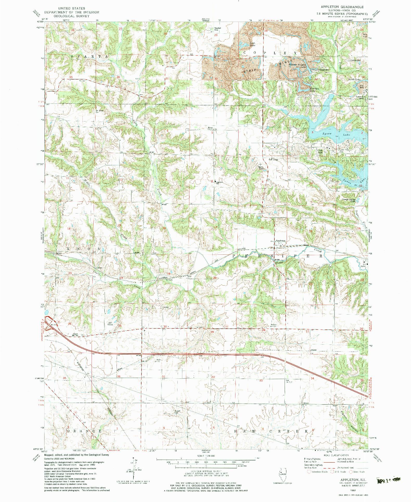 USGS 1:24000-SCALE QUADRANGLE FOR APPLETON, IL 1982