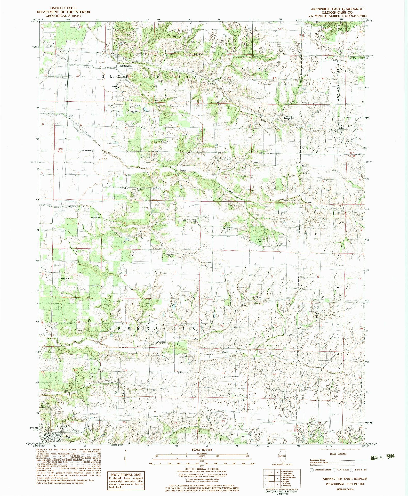 USGS 1:24000-SCALE QUADRANGLE FOR ARENZVILLE EAST, IL 1983