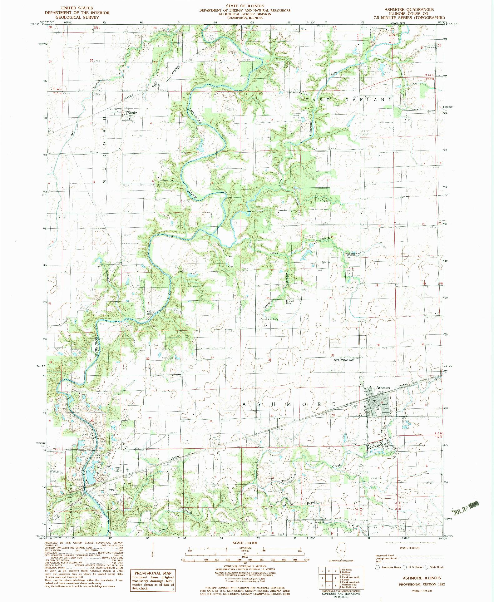 USGS 1:24000-SCALE QUADRANGLE FOR ASHMORE, IL 1982