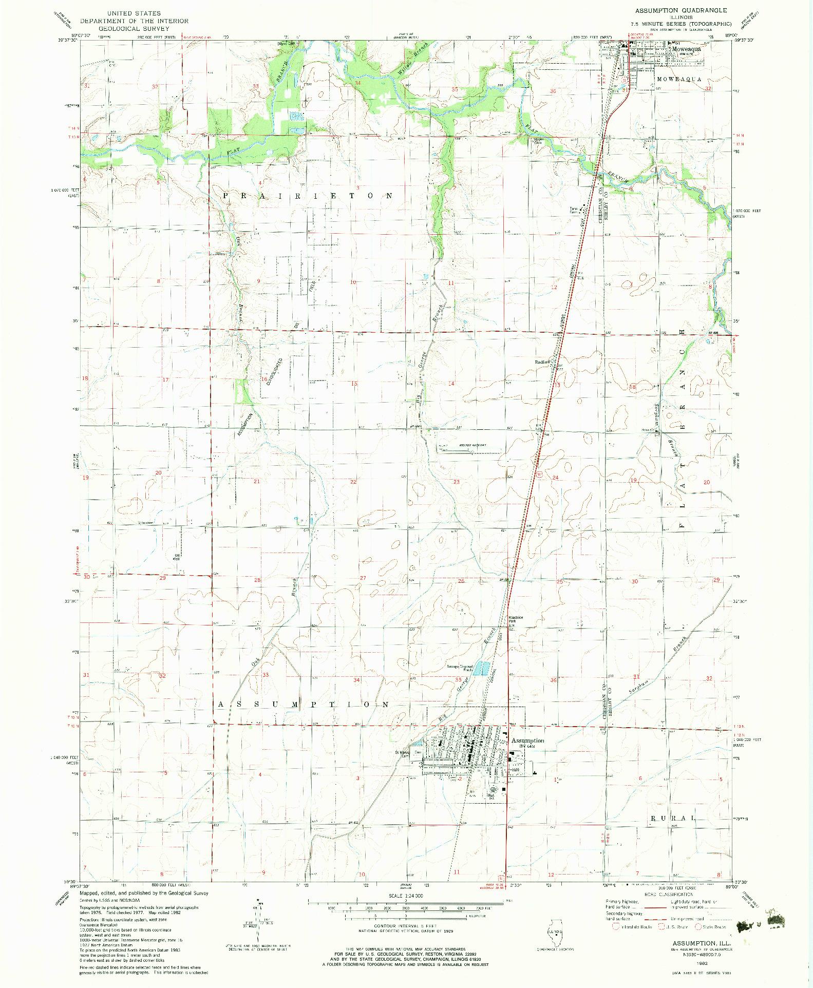 USGS 1:24000-SCALE QUADRANGLE FOR ASSUMPTION, IL 1982