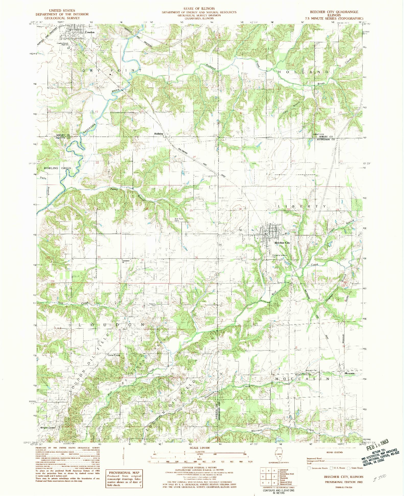 USGS 1:24000-SCALE QUADRANGLE FOR BEECHER CITY, IL 1983