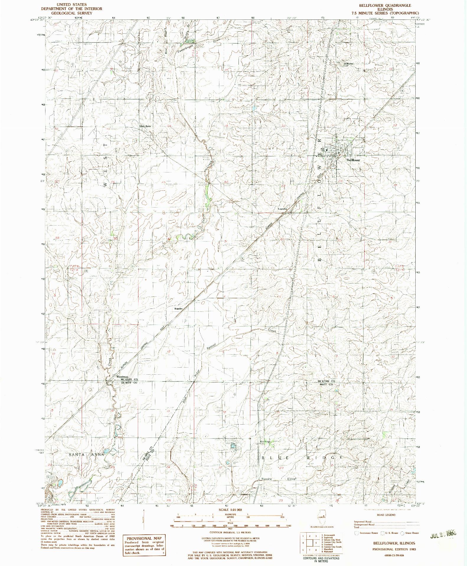 USGS 1:24000-SCALE QUADRANGLE FOR BELLFLOWER, IL 1983