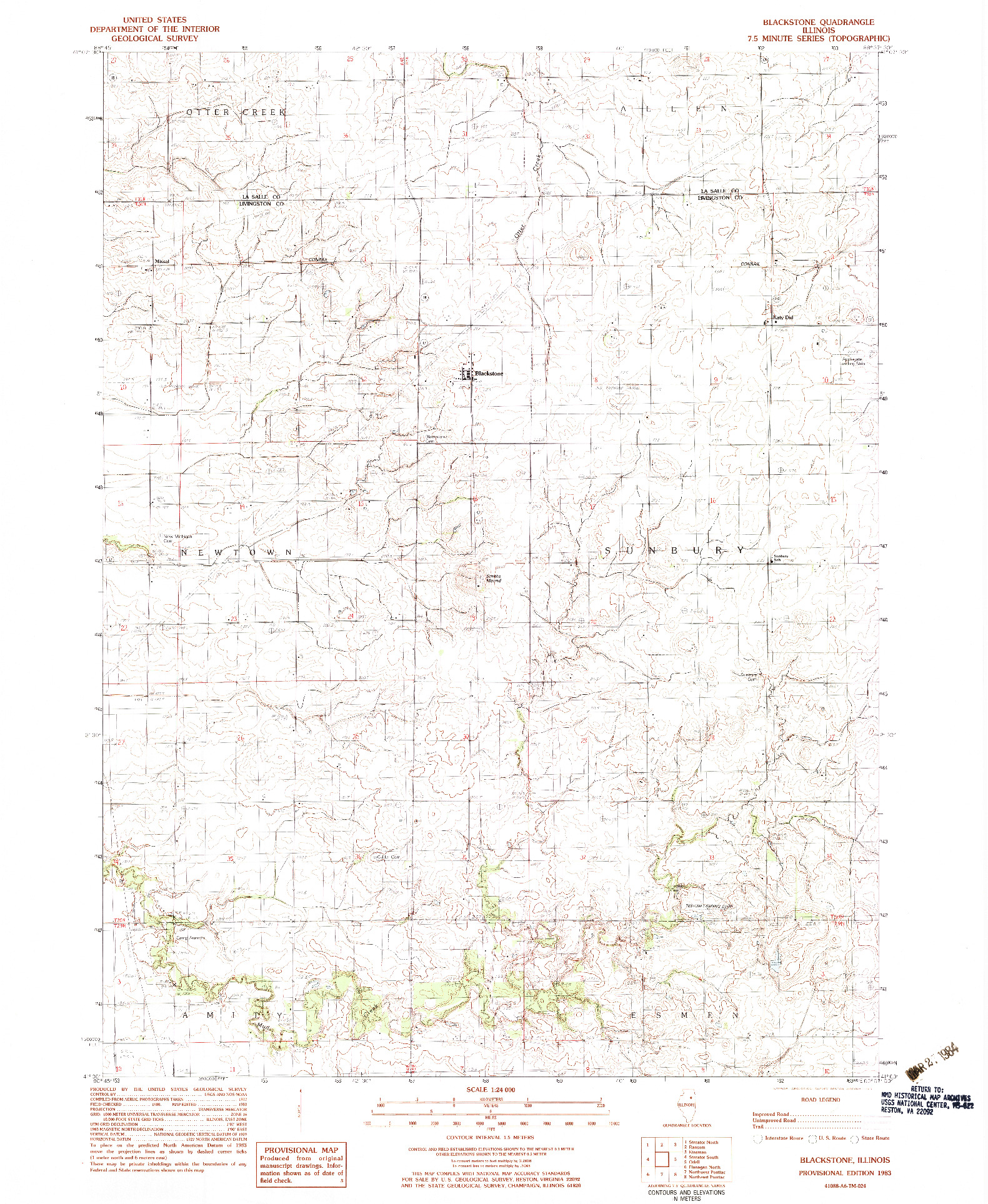 USGS 1:24000-SCALE QUADRANGLE FOR BLACKSTONE, IL 1983