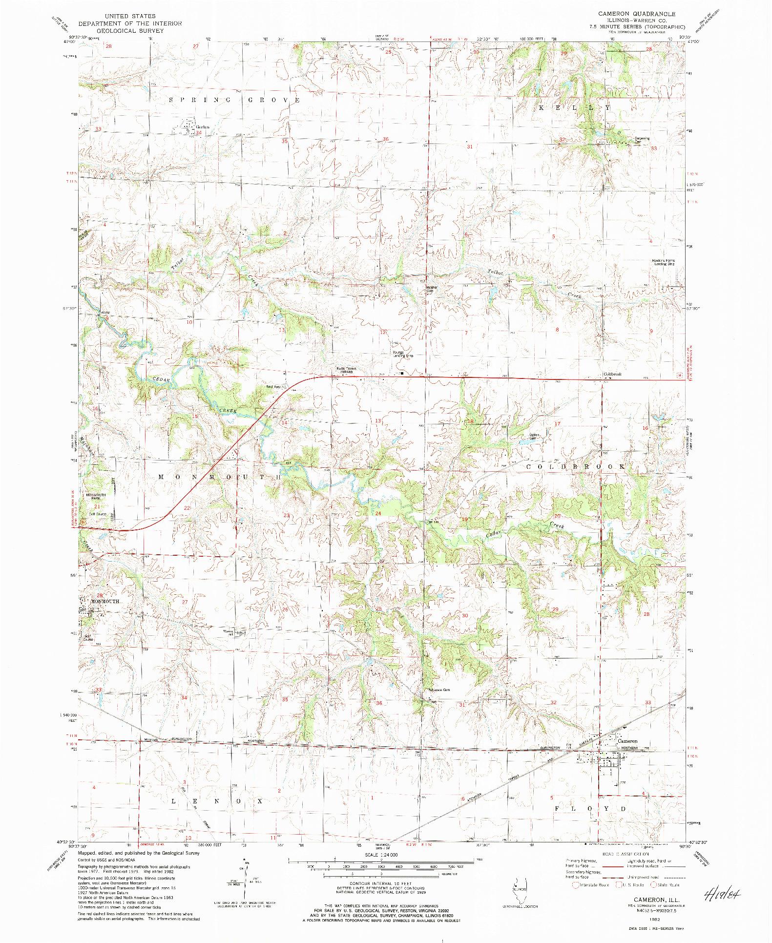 USGS 1:24000-SCALE QUADRANGLE FOR CAMERON, IL 1982