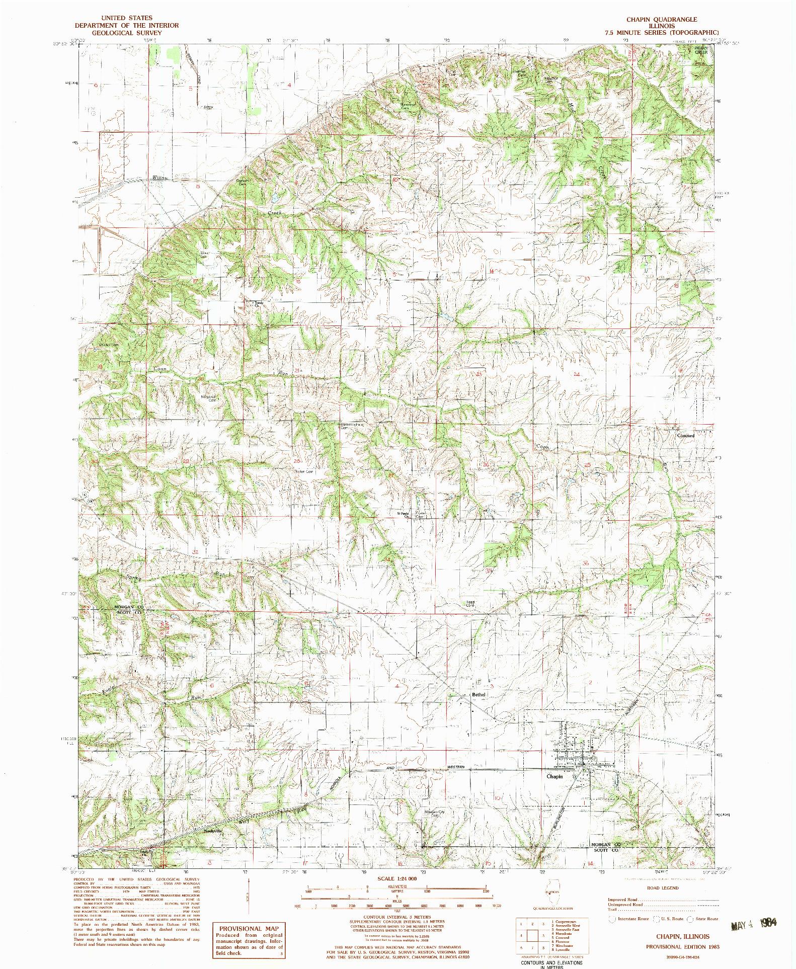 USGS 1:24000-SCALE QUADRANGLE FOR CHAPIN, IL 1983