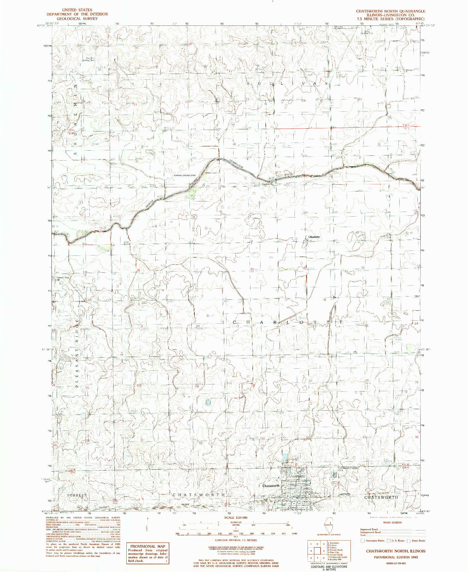 USGS 1:24000-SCALE QUADRANGLE FOR CHATSWORTH NORTH, IL 1983