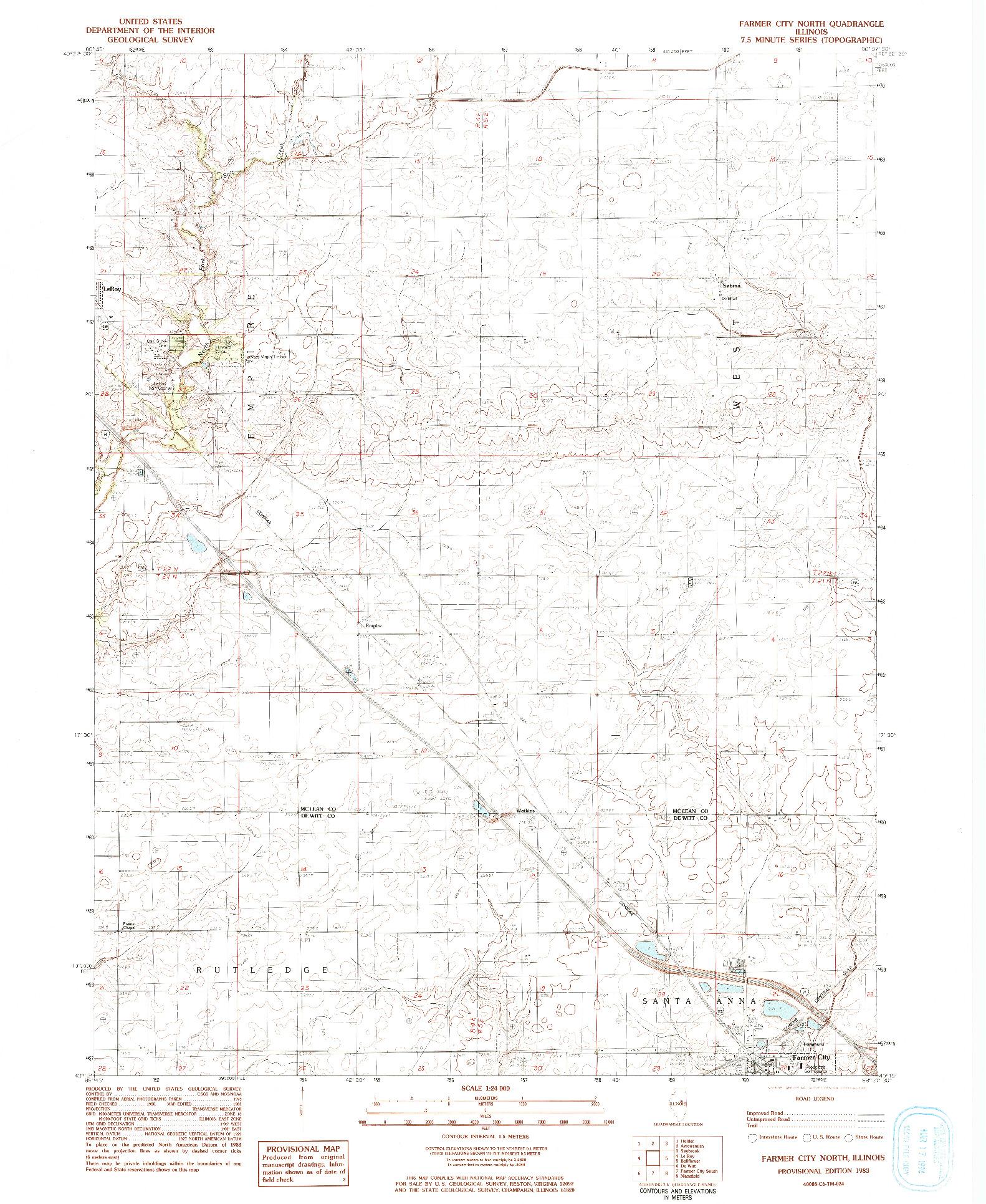 USGS 1:24000-SCALE QUADRANGLE FOR FARMER CITY NORTH, IL 1983