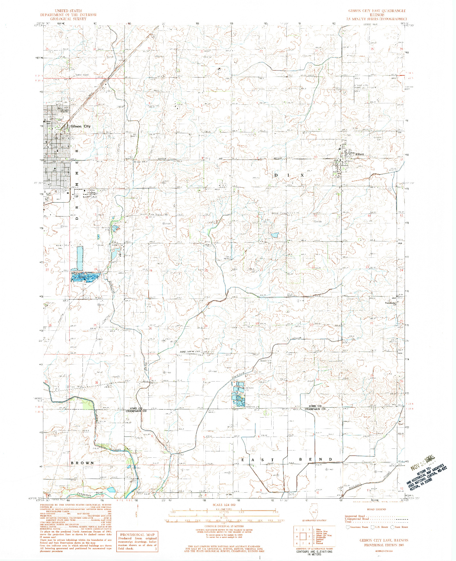 USGS 1:24000-SCALE QUADRANGLE FOR GIBSON CITY EAST, IL 1983