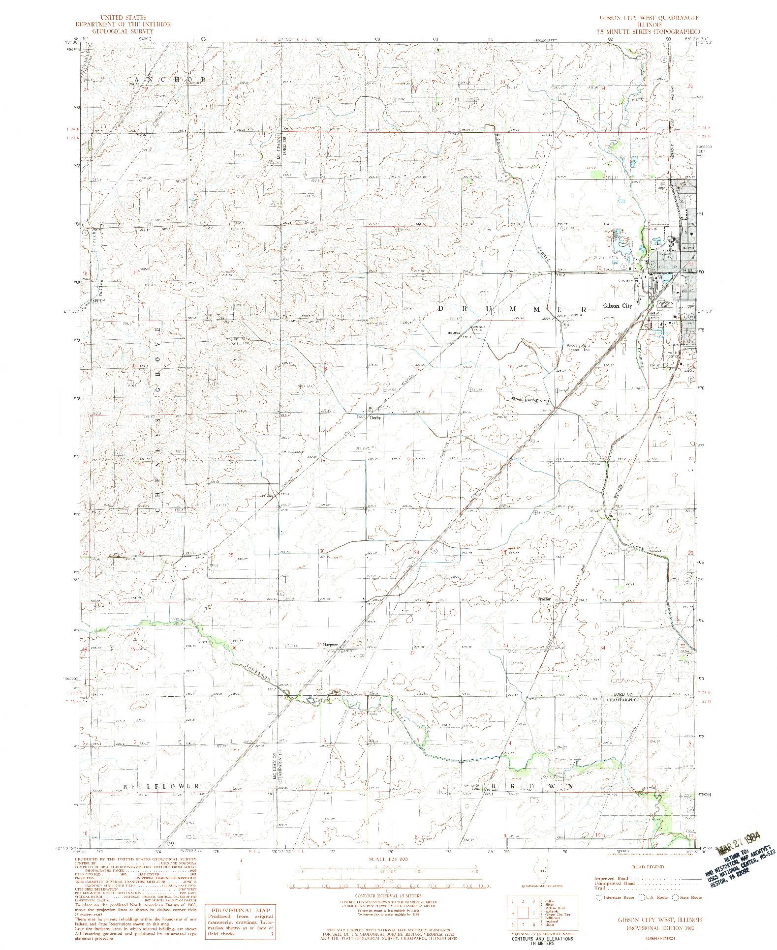 USGS 1:24000-SCALE QUADRANGLE FOR GIBSON CITY WEST, IL 1982