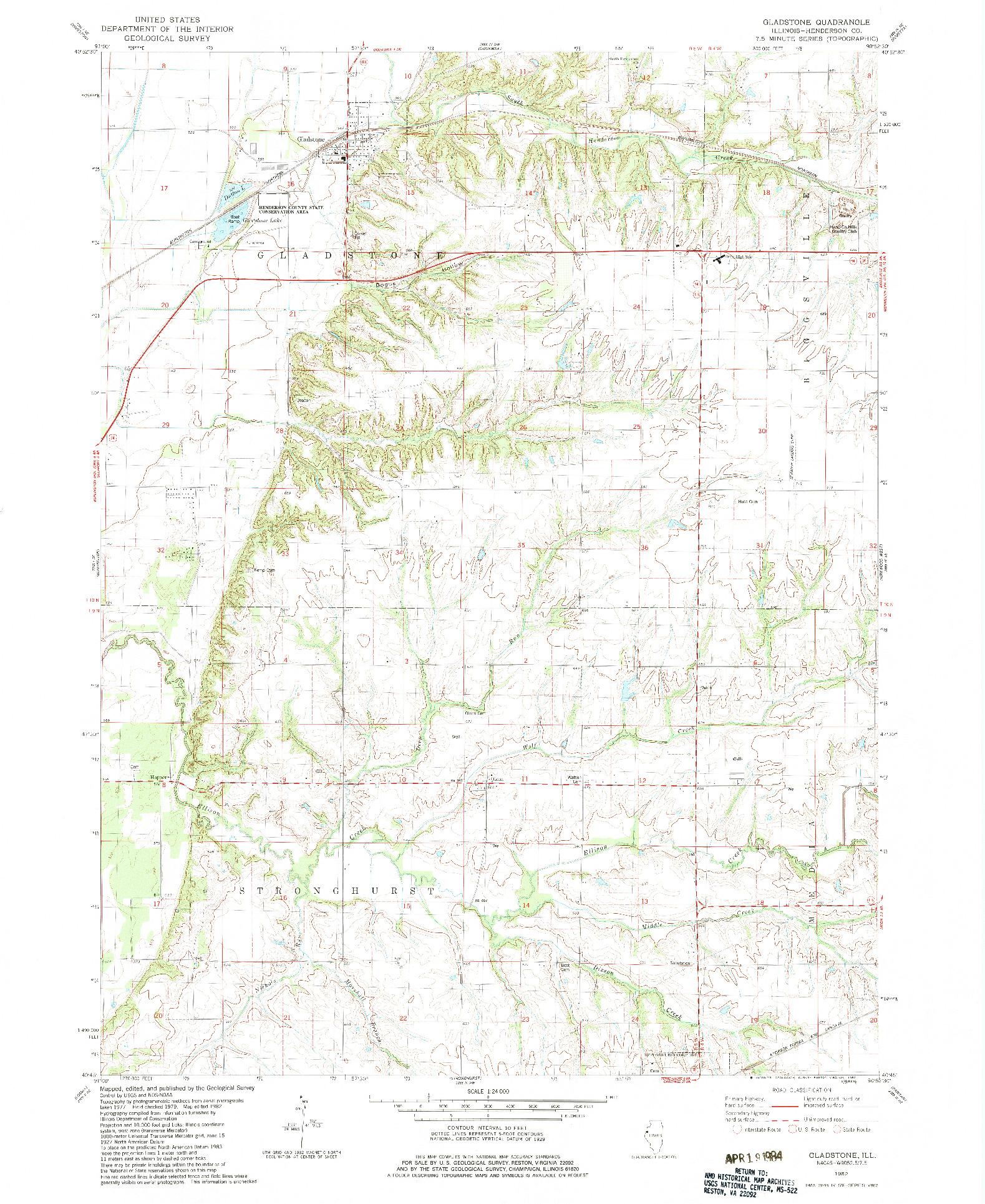 USGS 1:24000-SCALE QUADRANGLE FOR GLADSTONE, IL 1982