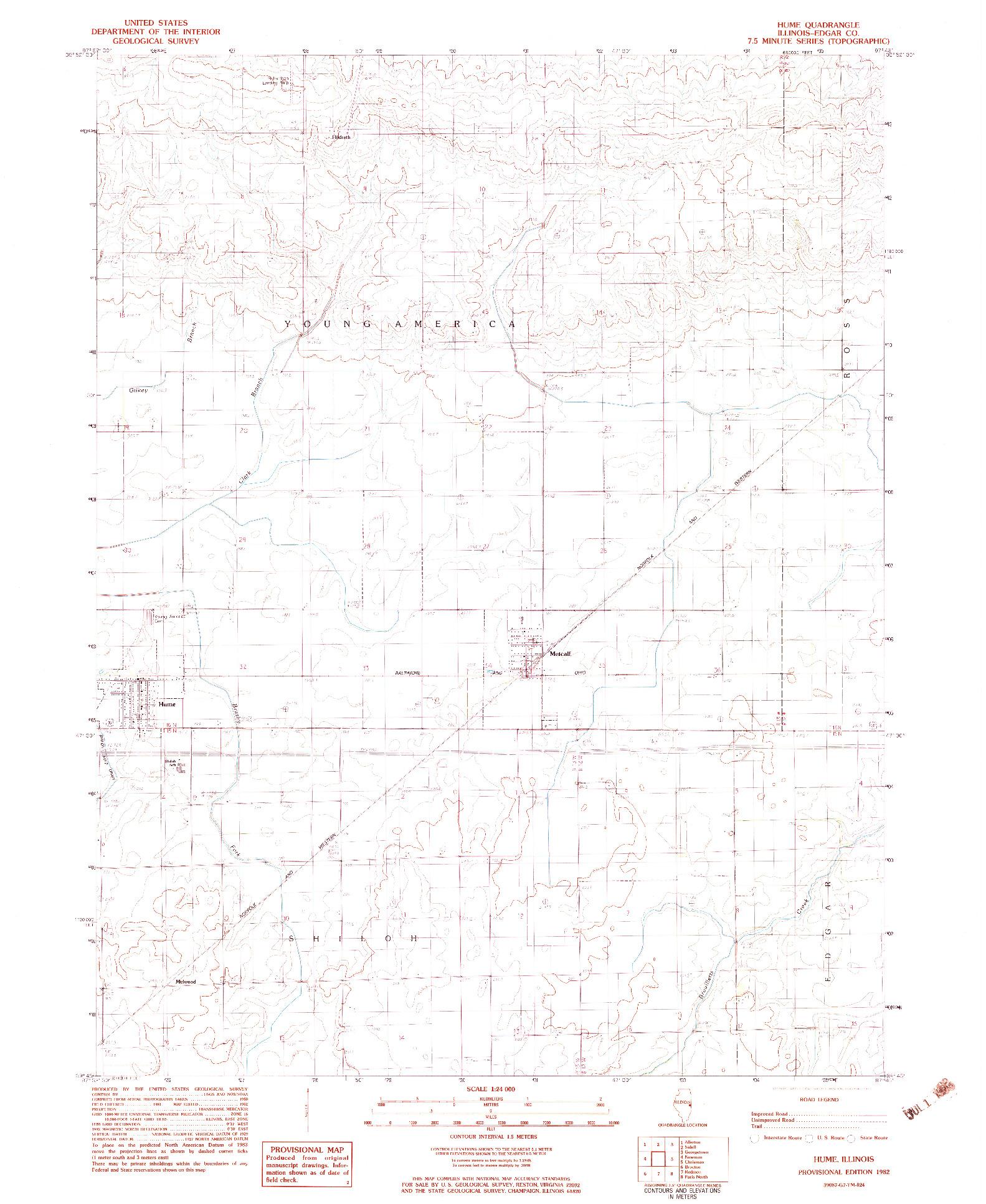 USGS 1:24000-SCALE QUADRANGLE FOR HUME, IL 1982