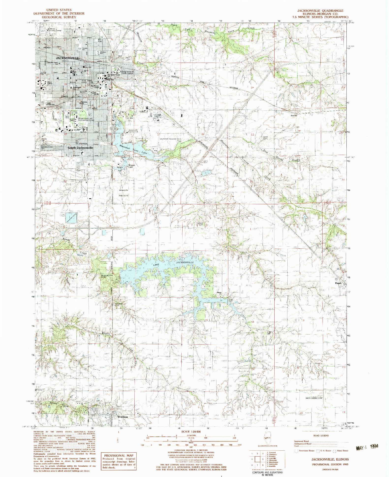 USGS 1:24000-SCALE QUADRANGLE FOR JACKSONVILLE, IL 1983