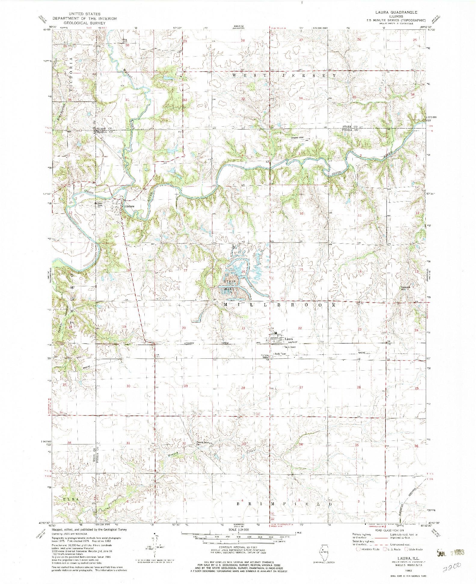 USGS 1:24000-SCALE QUADRANGLE FOR LAURA, IL 1982