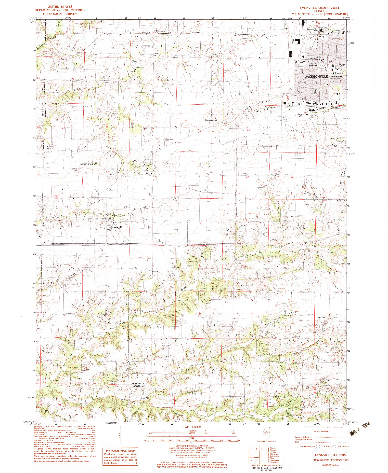 USGS 1:24000-SCALE QUADRANGLE FOR LYNNVILLE, IL 1983