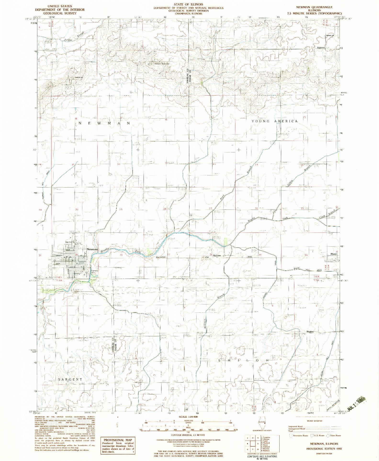 USGS 1:24000-SCALE QUADRANGLE FOR NEWMAN, IL 1982