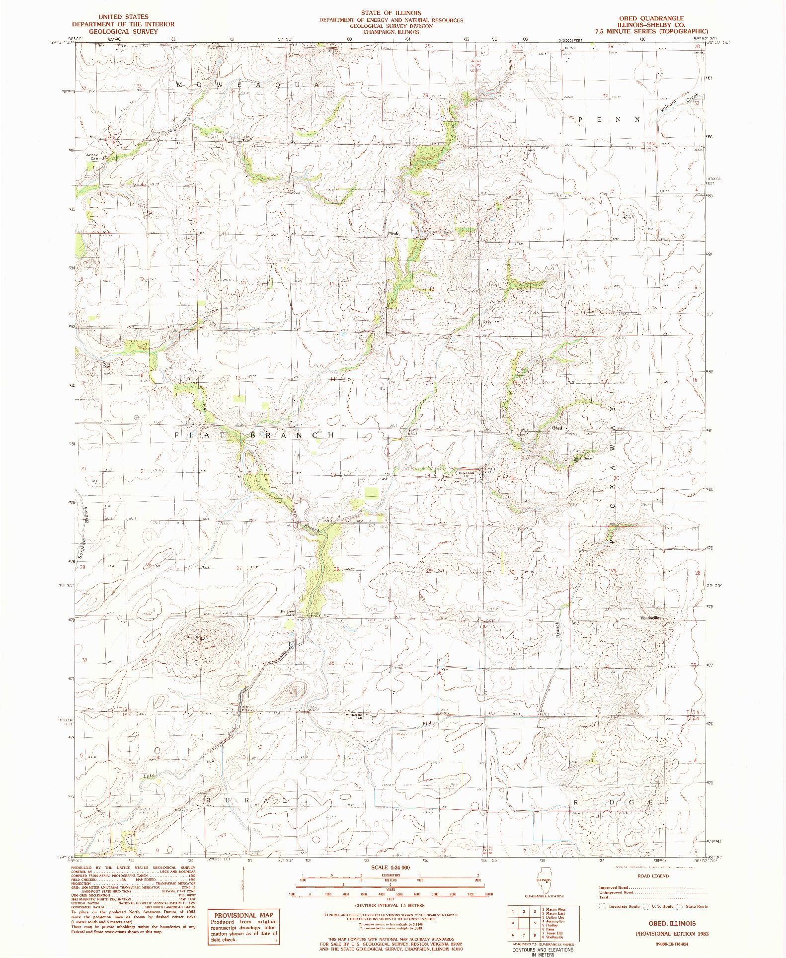 USGS 1:24000-SCALE QUADRANGLE FOR OBED, IL 1983