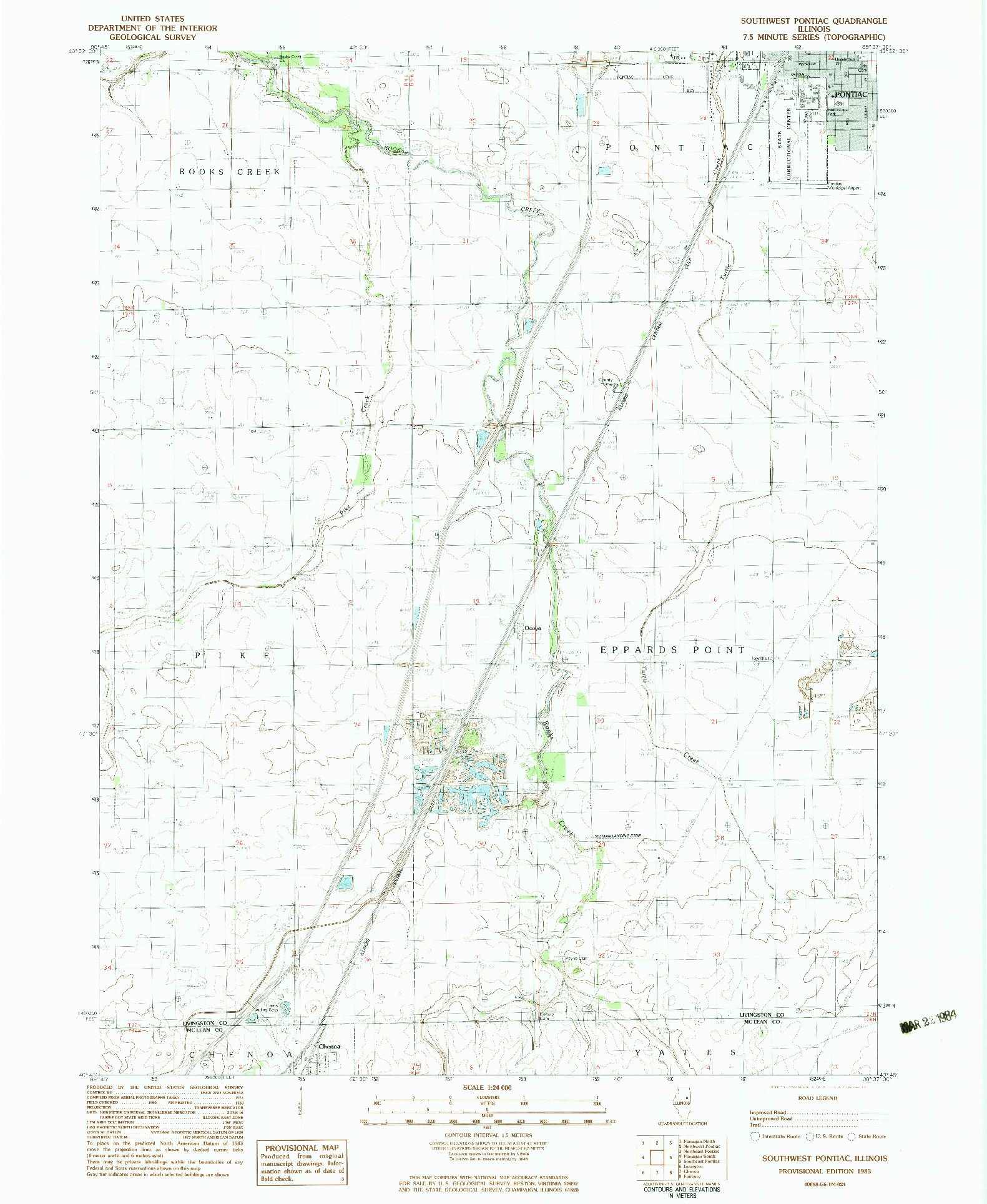 USGS 1:24000-SCALE QUADRANGLE FOR SOUTHWEST PONTIAC, IL 1983