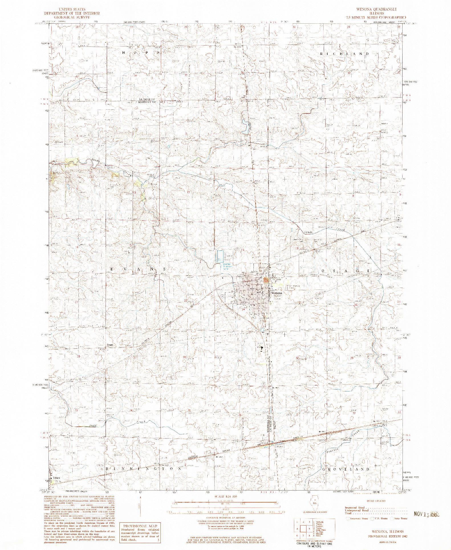 USGS 1:24000-SCALE QUADRANGLE FOR WENONA, IL 1982