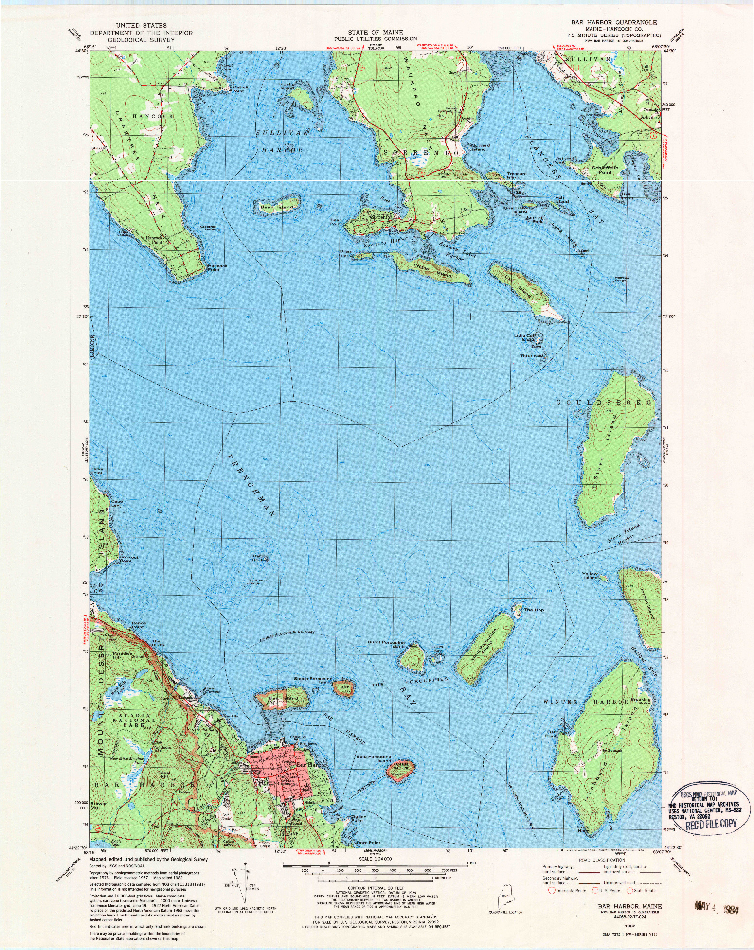 USGS 1:24000-SCALE QUADRANGLE FOR BAR HARBOR, ME 1982