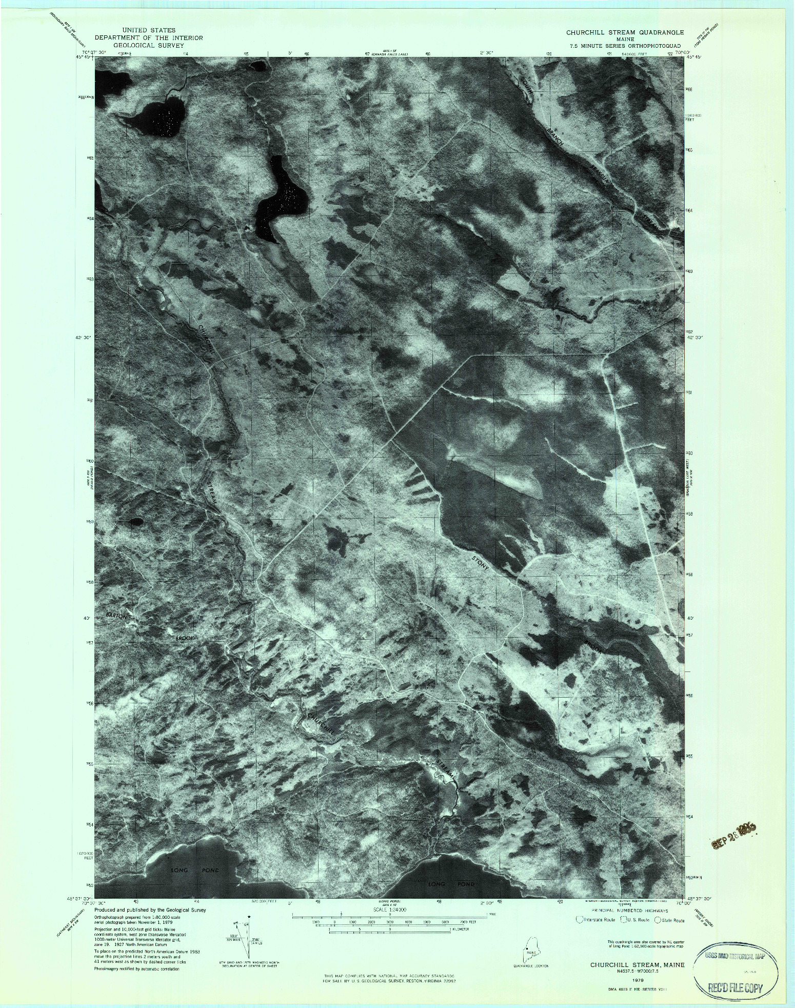 USGS 1:24000-SCALE QUADRANGLE FOR CHURCHILL STREAM, ME 1979