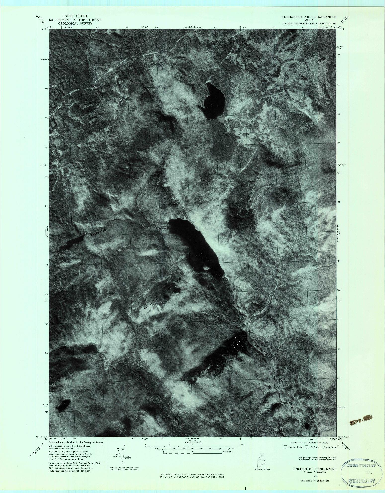 USGS 1:24000-SCALE QUADRANGLE FOR ENCHANTED POND, ME 1977