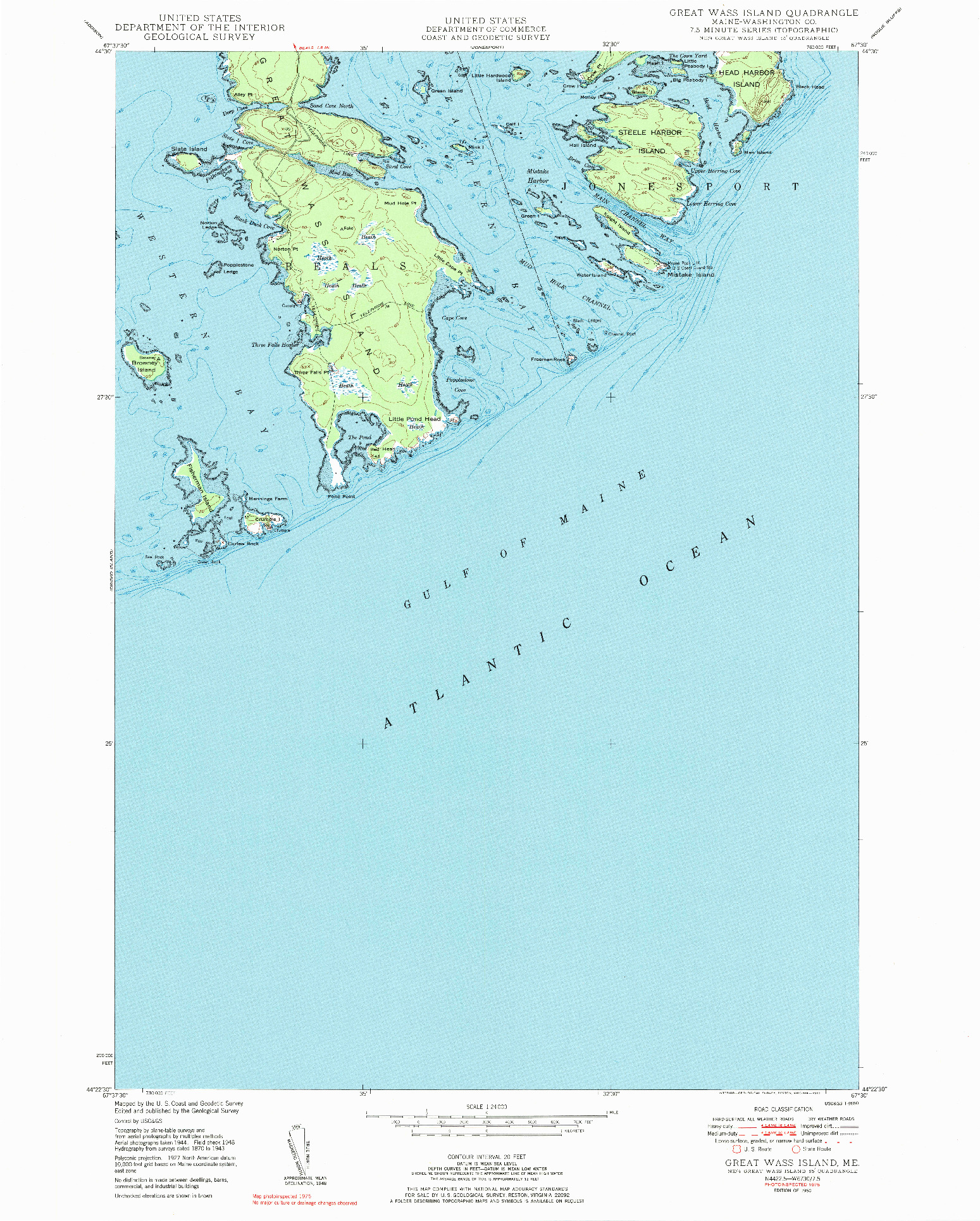 USGS 1:24000-SCALE QUADRANGLE FOR GREAT WASS ISLAND, ME 1950