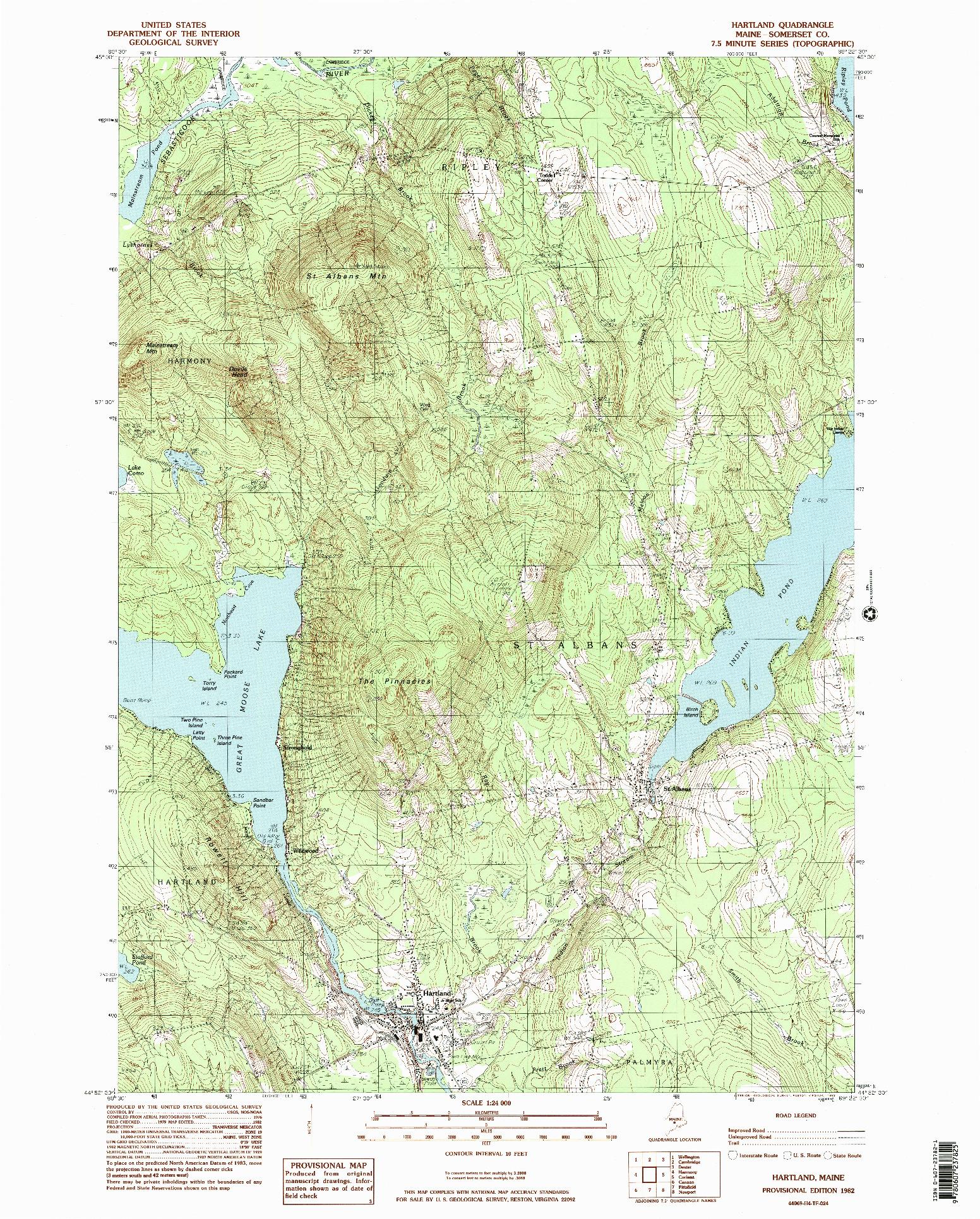 USGS 1:24000-SCALE QUADRANGLE FOR HARTLAND, ME 1982