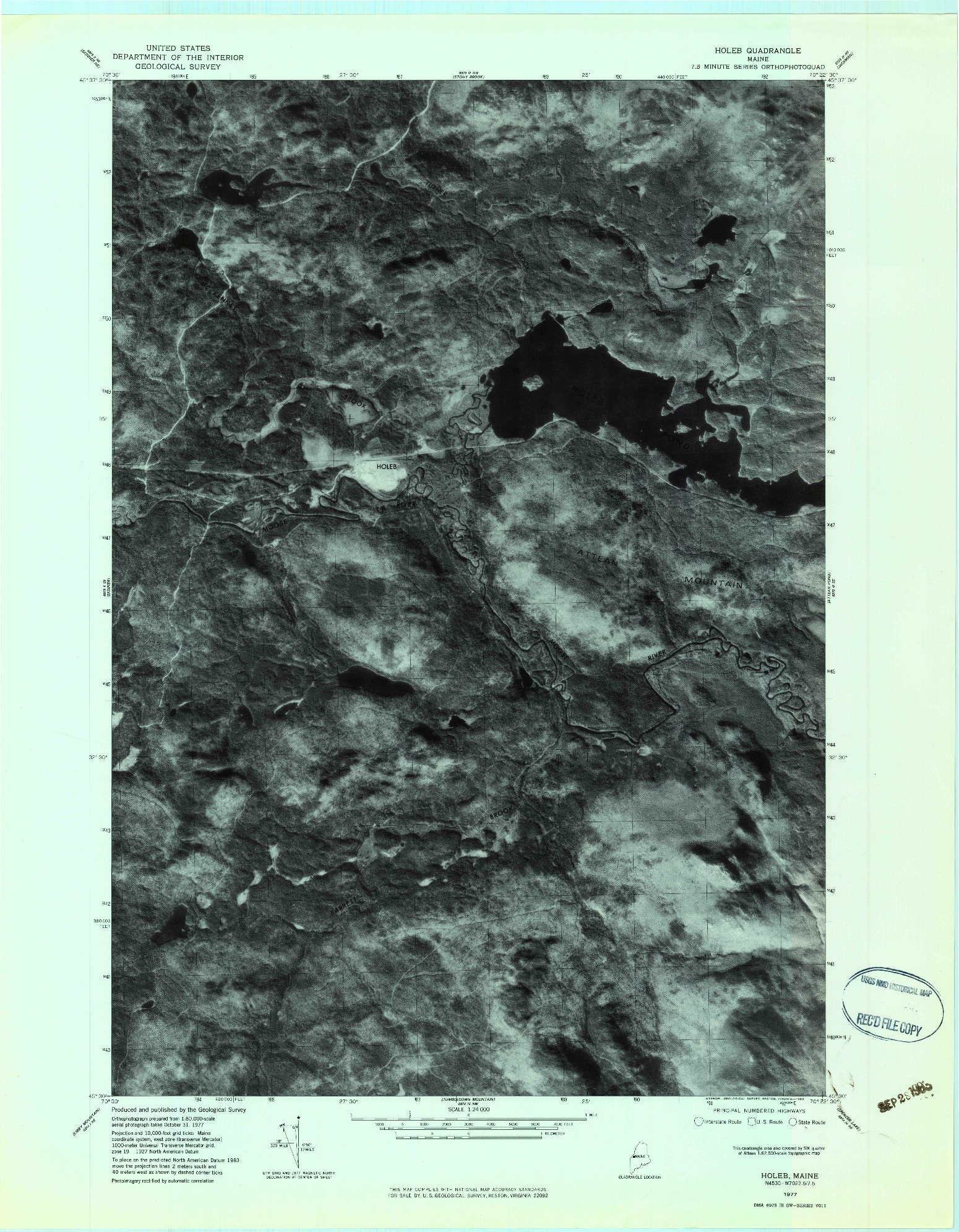 USGS 1:24000-SCALE QUADRANGLE FOR HOLEB, ME 1977
