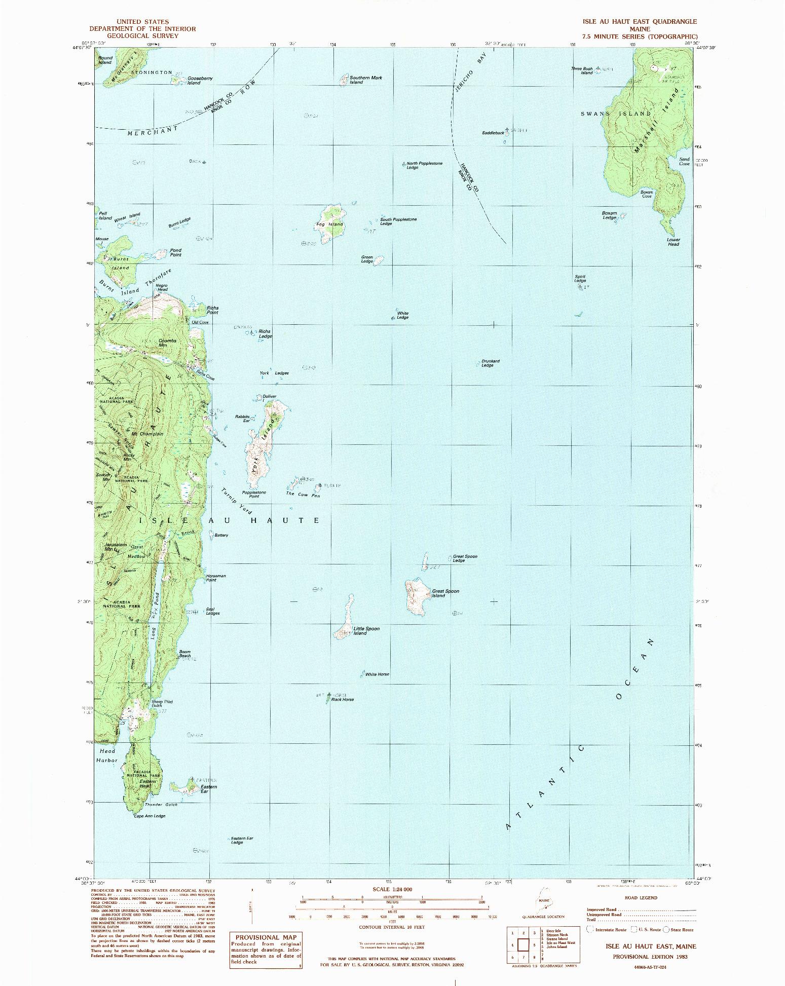 USGS 1:24000-SCALE QUADRANGLE FOR ISLE AU HAUT EAST, ME 1983