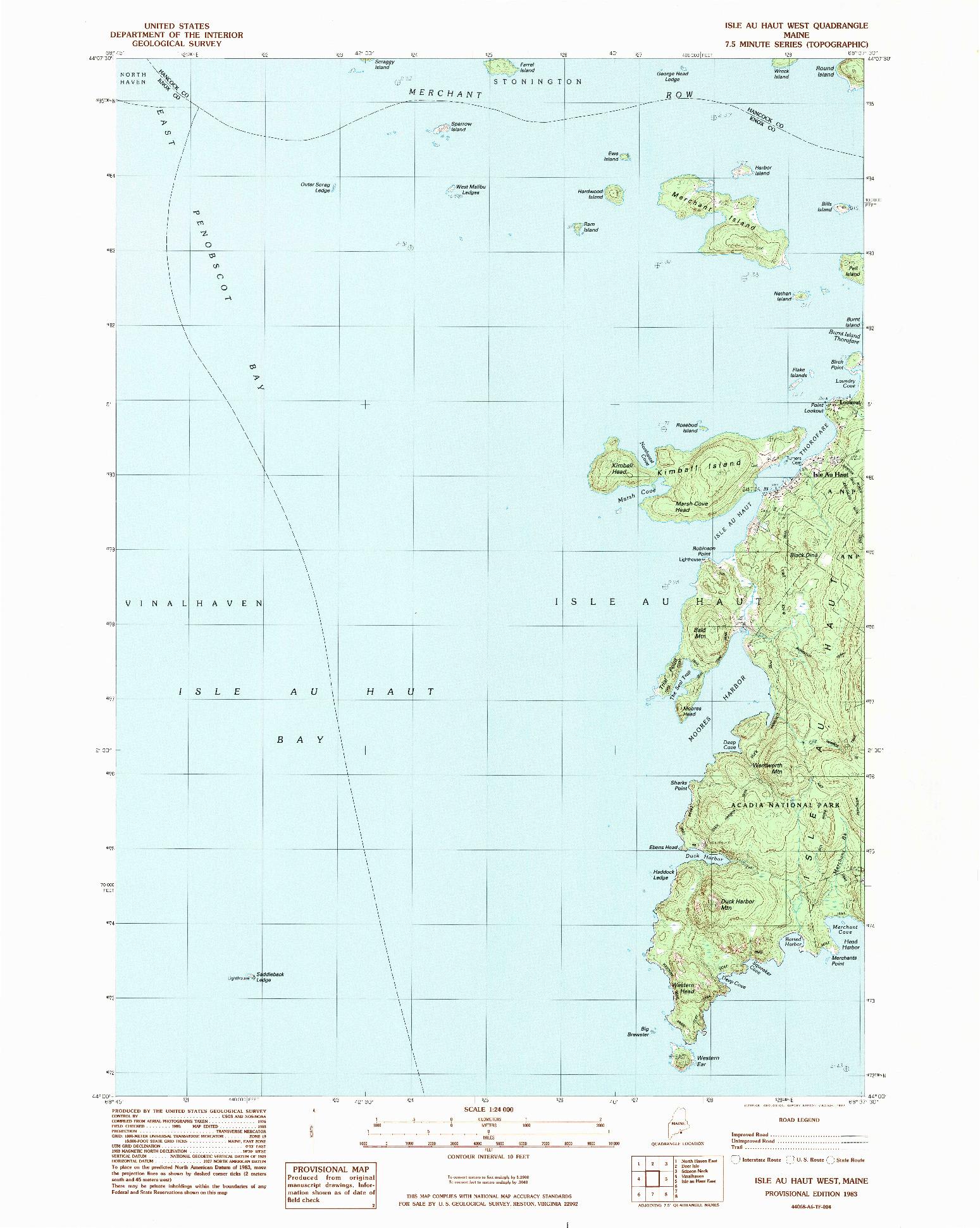 USGS 1:24000-SCALE QUADRANGLE FOR ISLE AU HAUT WEST, ME 1983
