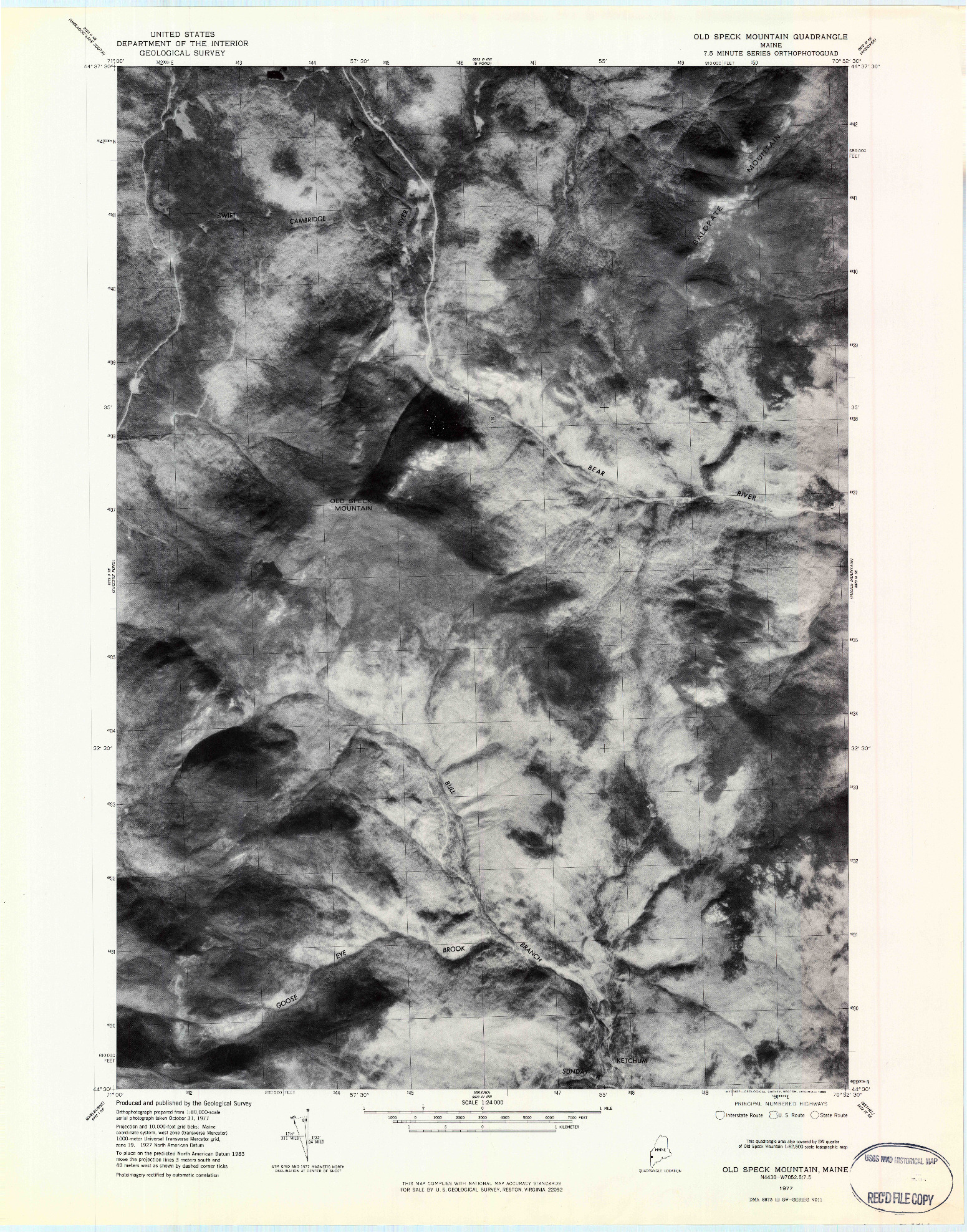 USGS 1:24000-SCALE QUADRANGLE FOR OLD SPECK MOUNTAIN, ME 1977