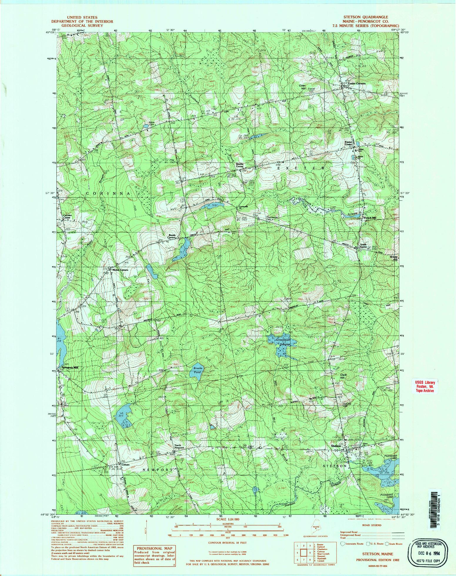 USGS 1:24000-SCALE QUADRANGLE FOR STETSON, ME 1982