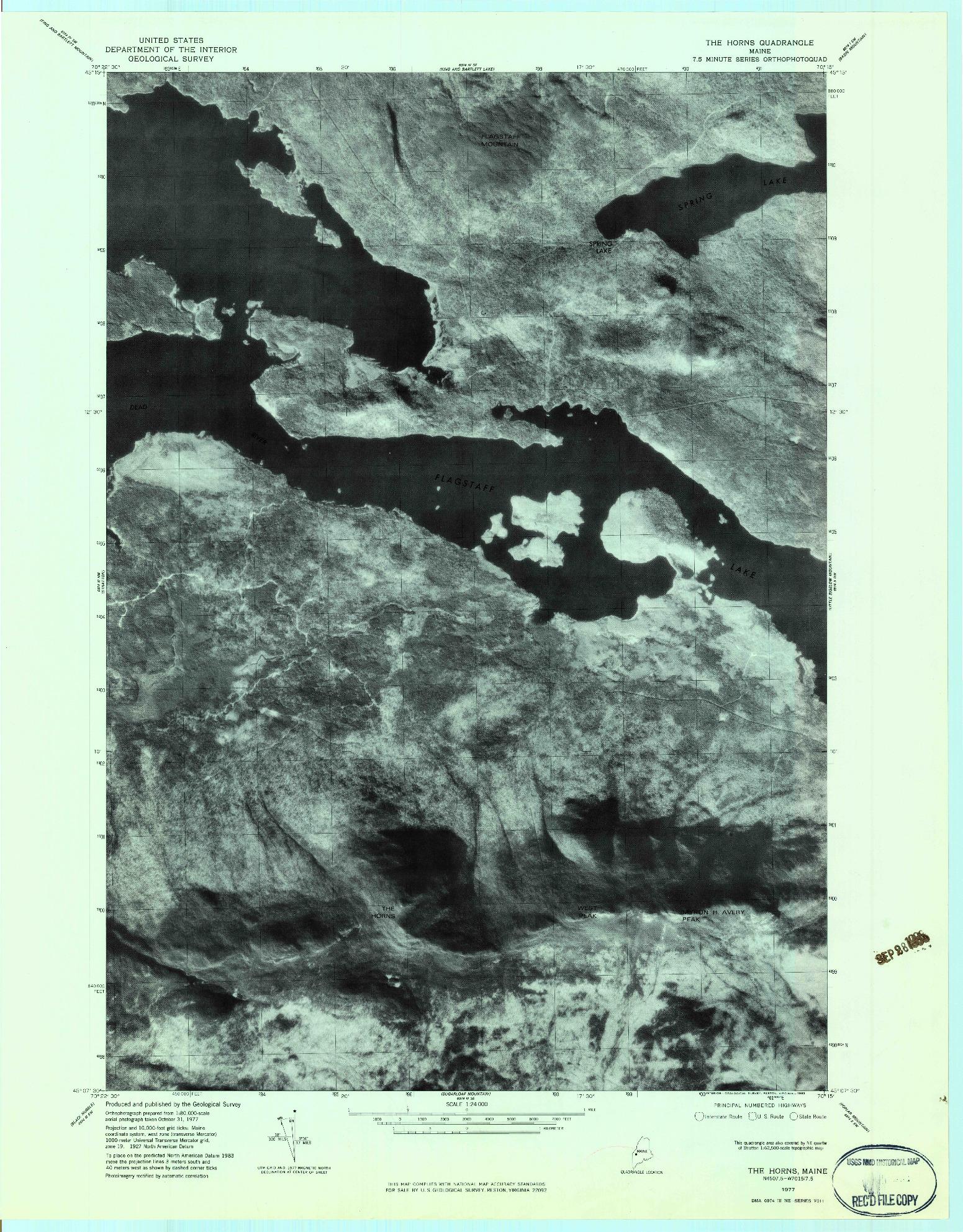 USGS 1:24000-SCALE QUADRANGLE FOR THE HORNS, ME 1977