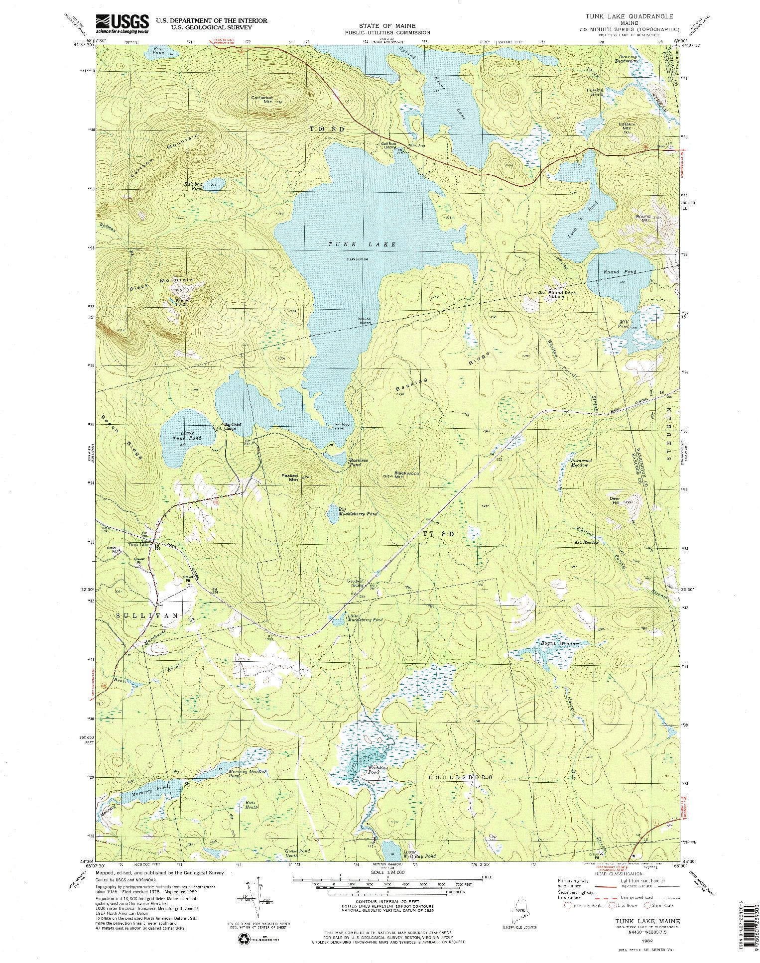 USGS 1:24000-SCALE QUADRANGLE FOR TUNK LAKE, ME 1982