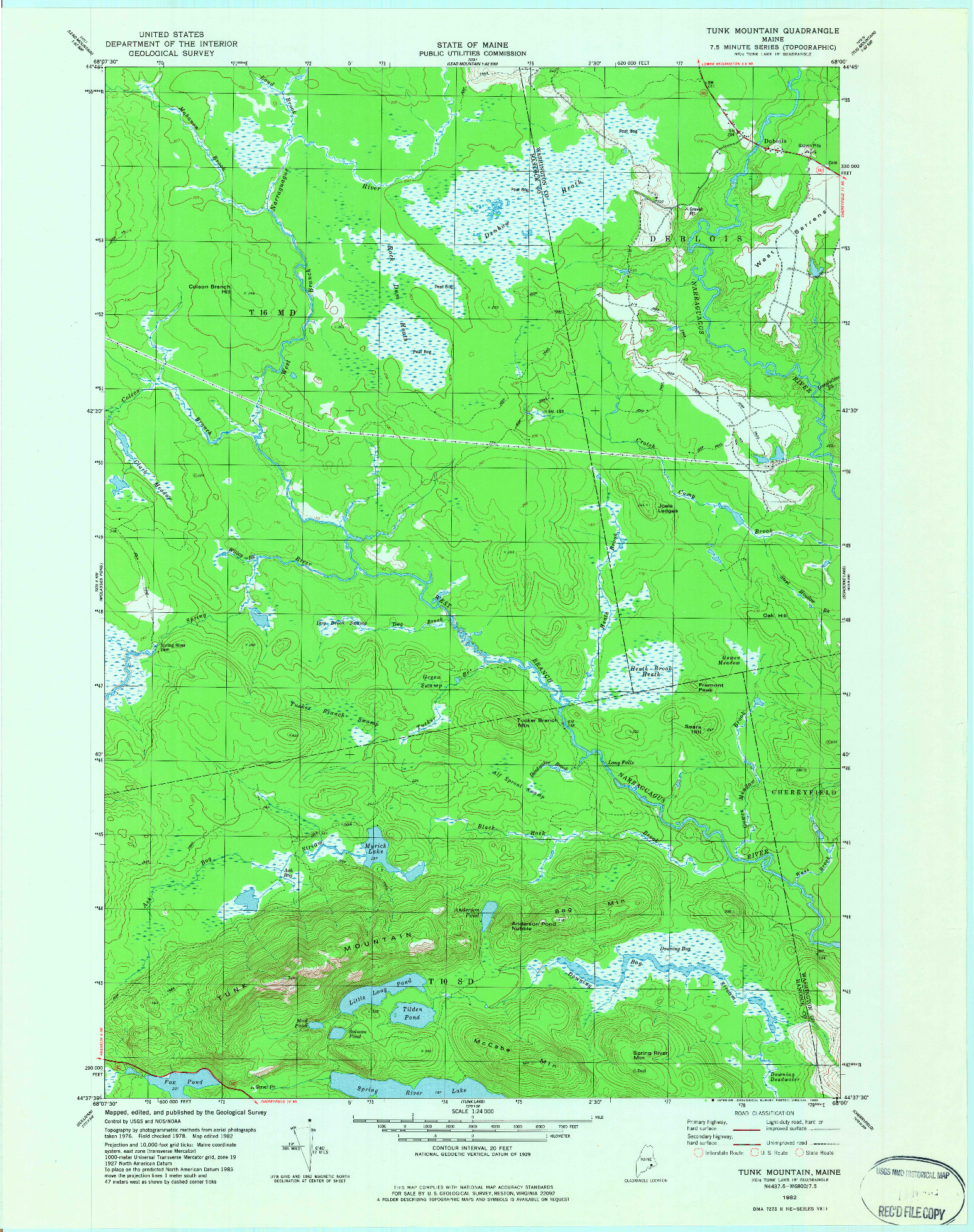 USGS 1:24000-SCALE QUADRANGLE FOR TUNK MOUNTAIN, ME 1982