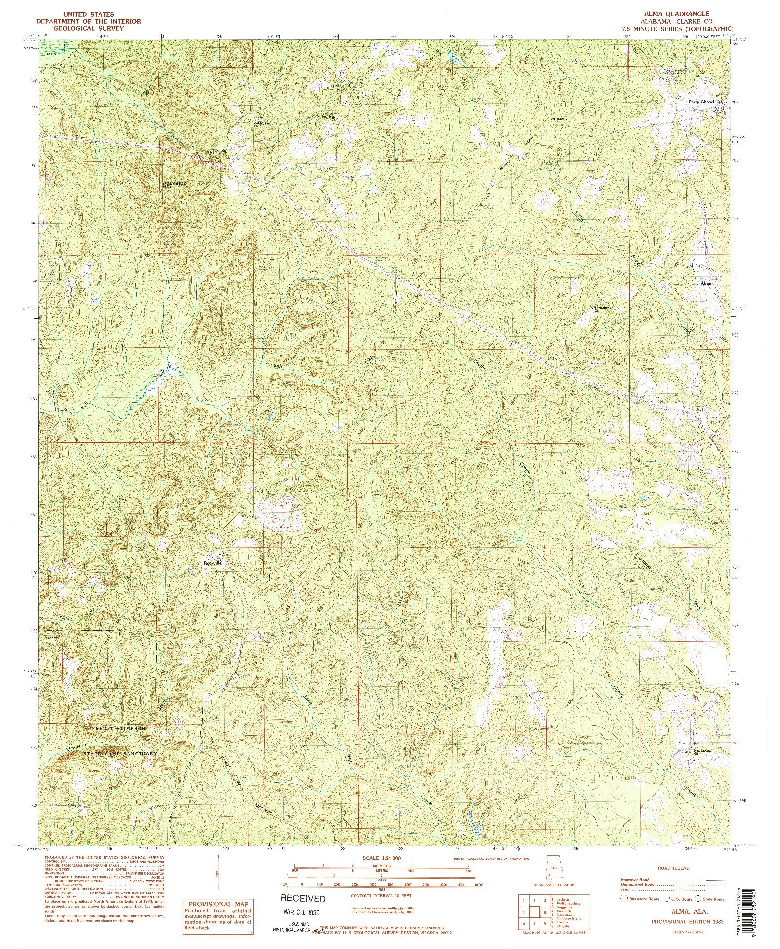 USGS 1:24000-SCALE QUADRANGLE FOR ALMA, AL 1983