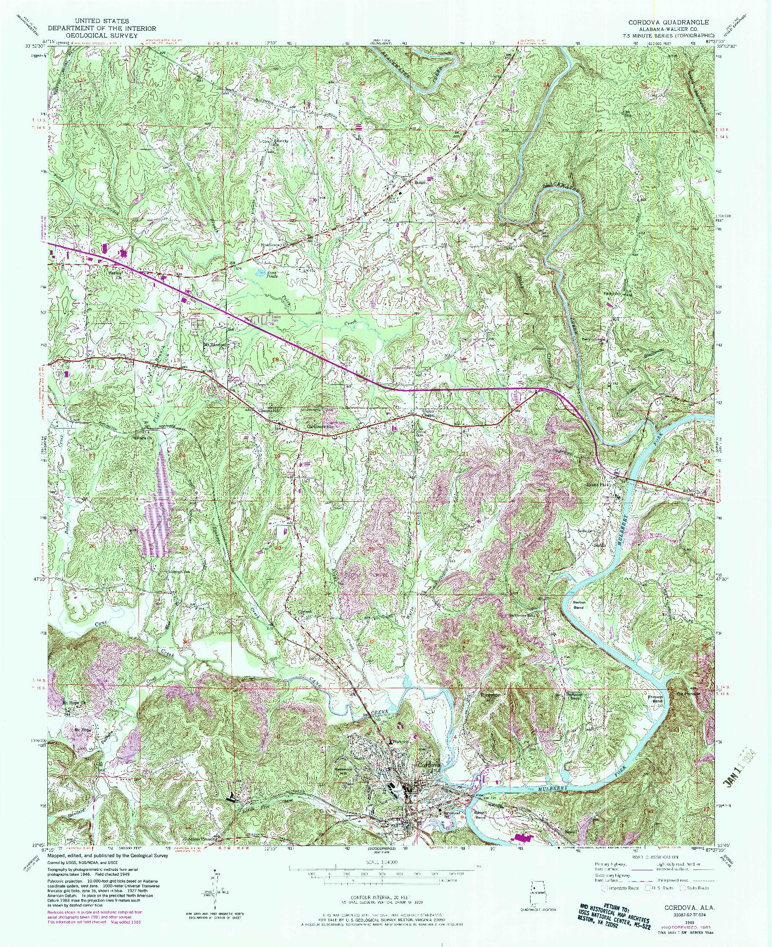 USGS 1:24000-SCALE QUADRANGLE FOR CORDOVA, AL 1949