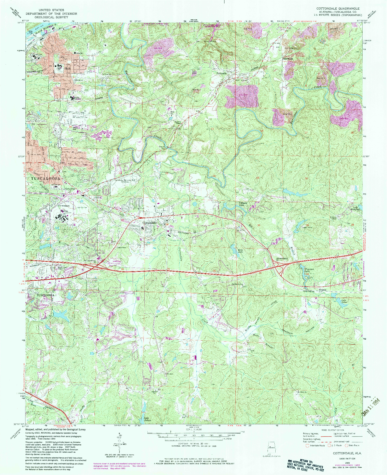 USGS 1:24000-SCALE QUADRANGLE FOR COTTONDALE, AL 1969