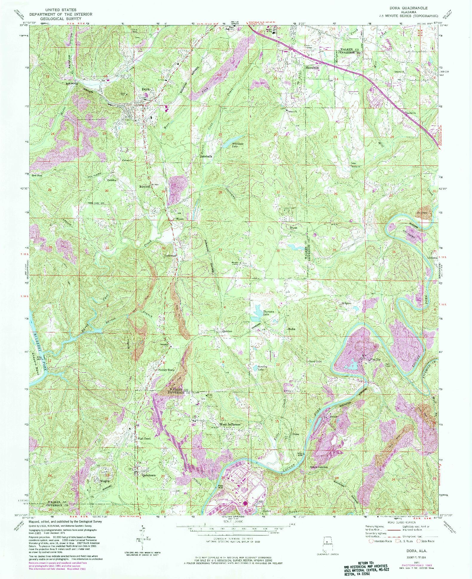 USGS 1:24000-SCALE QUADRANGLE FOR DORA, AL 1971