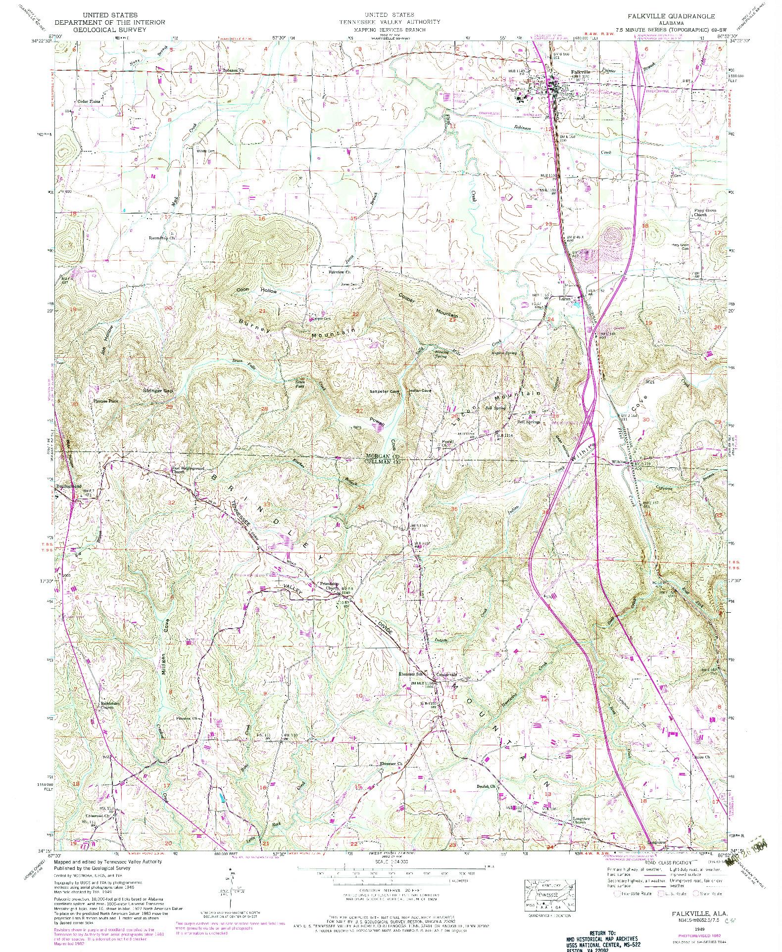 USGS 1:24000-SCALE QUADRANGLE FOR FALKVILLE, AL 1949
