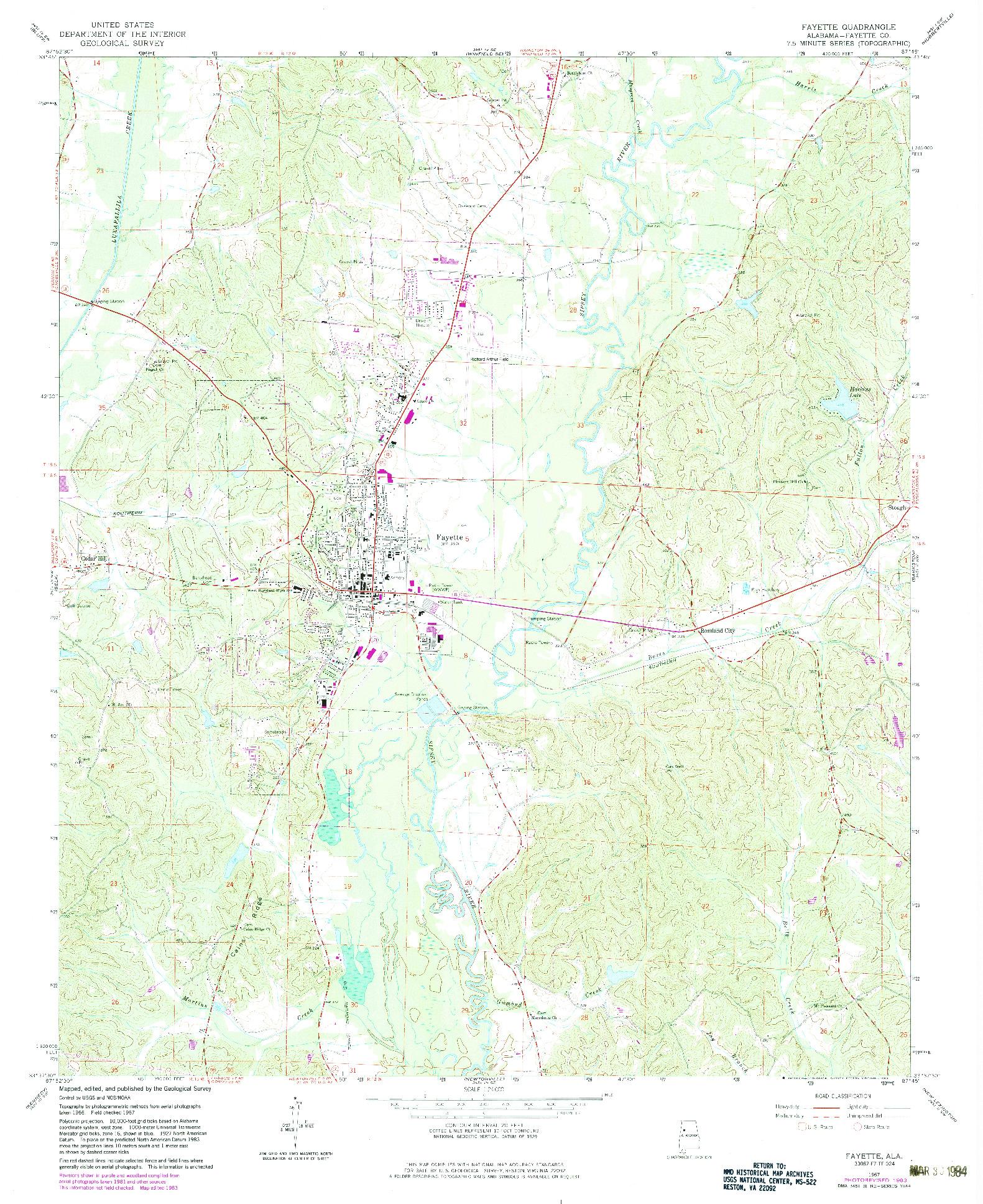 USGS 1:24000-SCALE QUADRANGLE FOR FAYETTE, AL 1967